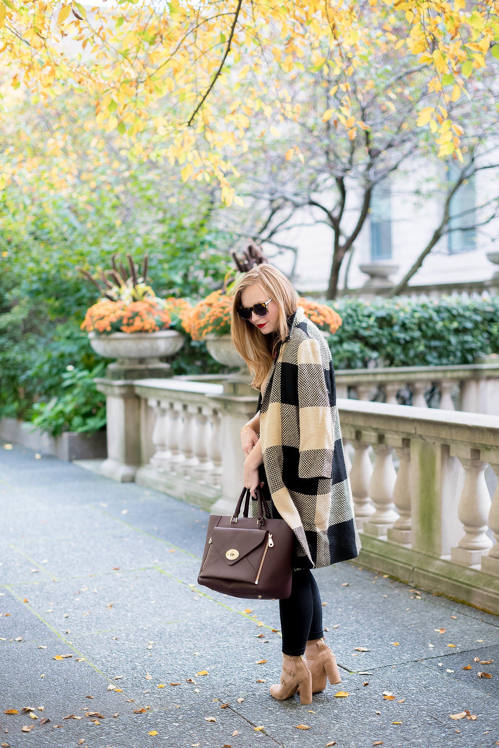 Autumn Check Coat Burgundy Poppy Pin Style