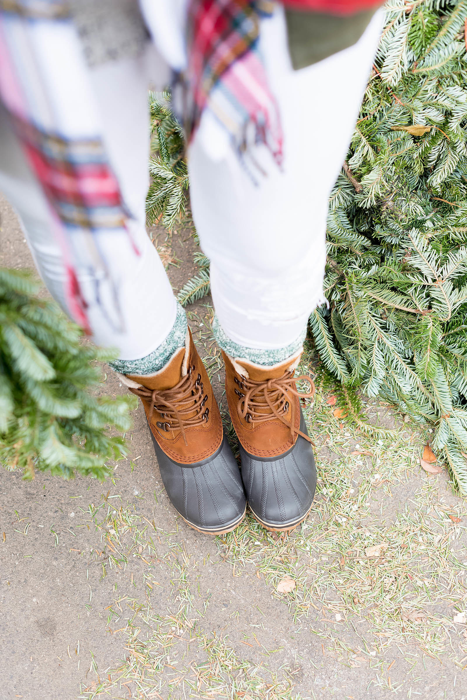 Casual Holiday Plaid Sorel Christmas Tree Farm Outfit