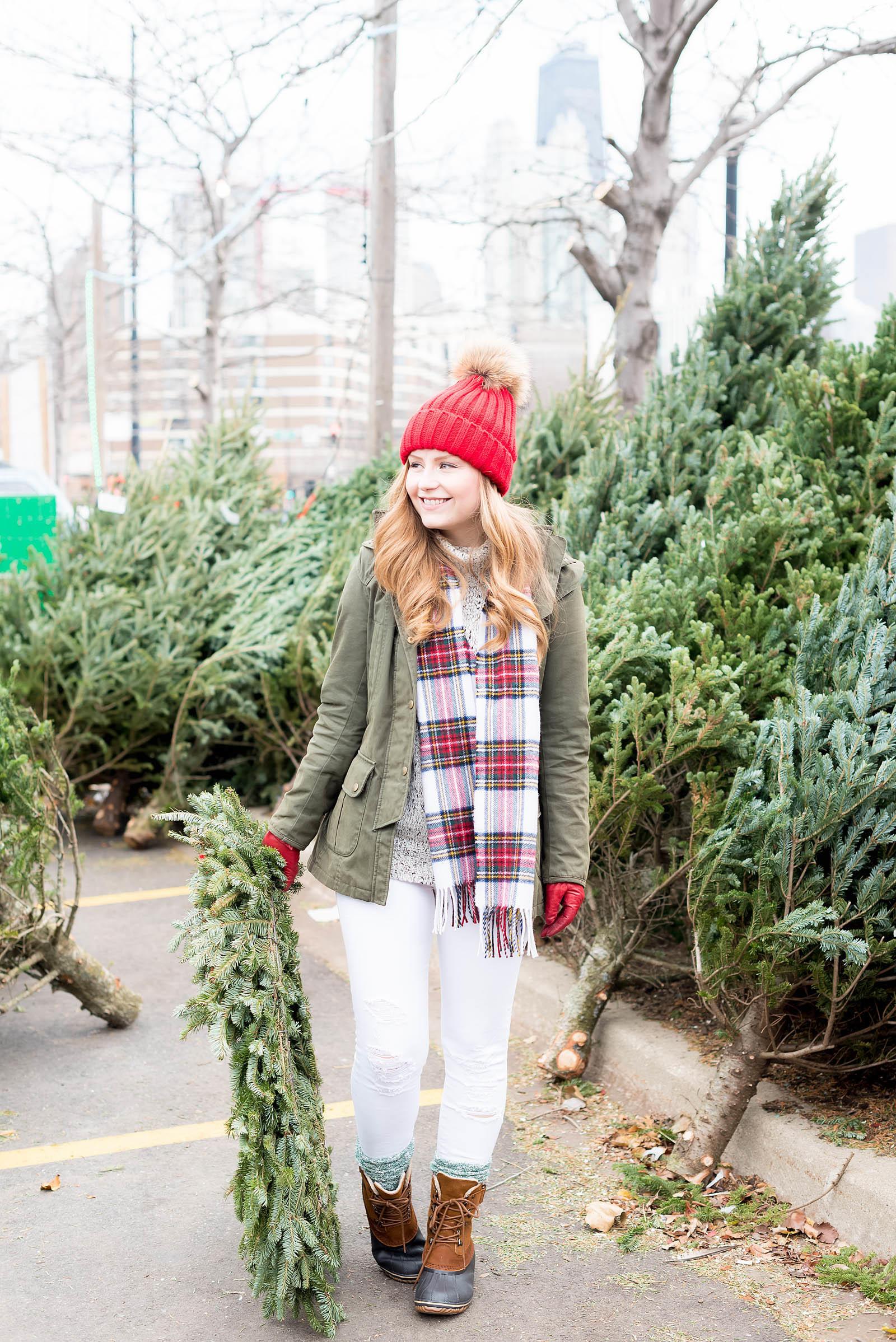 Casual Holiday Plaid Sorel Christmas Tree Farm Outfit