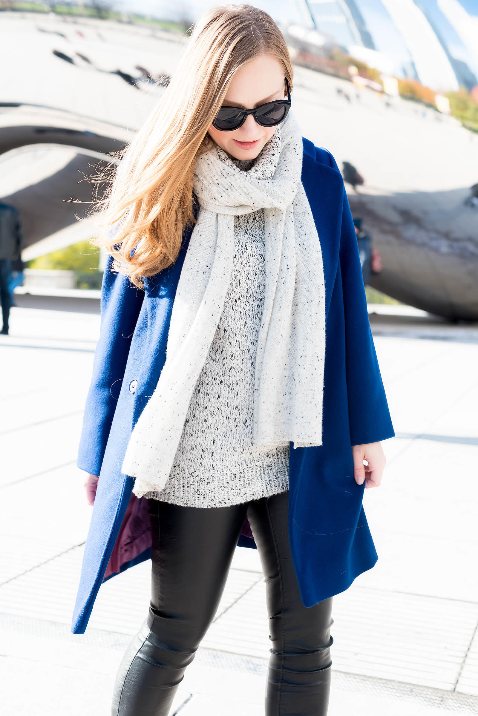 Chic Winter Sightseeing Outfit Cobalt Leopard
