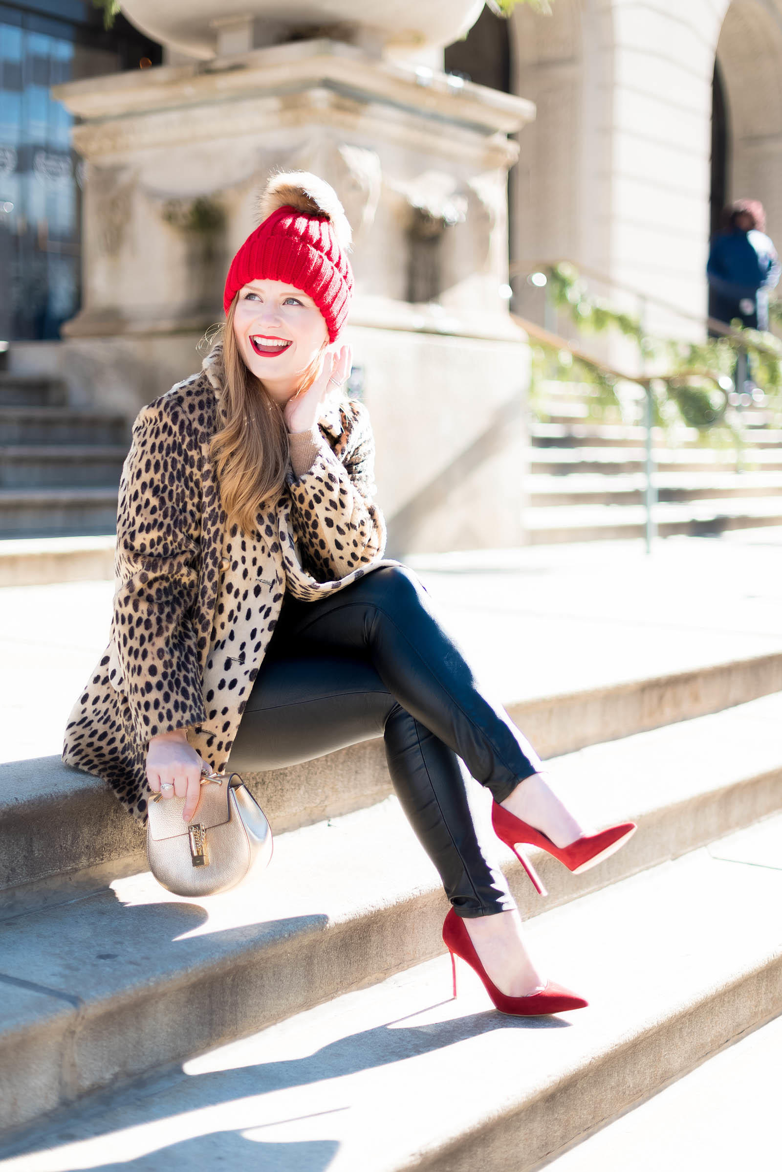 Red Leopard Winter Chic Cashmere Outfit