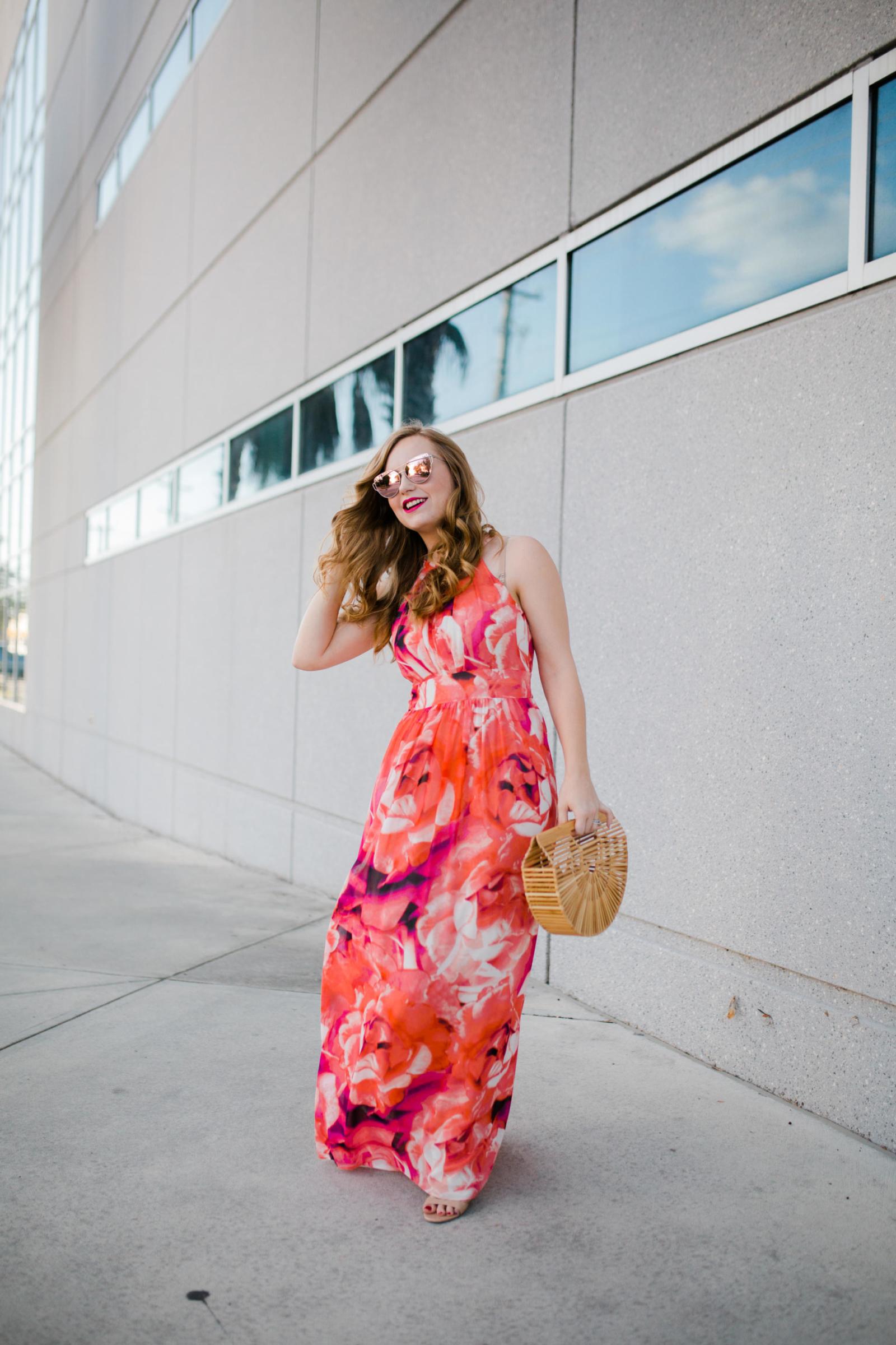 Florida Floral Maxi Dress Vacation Outfit Inspiration