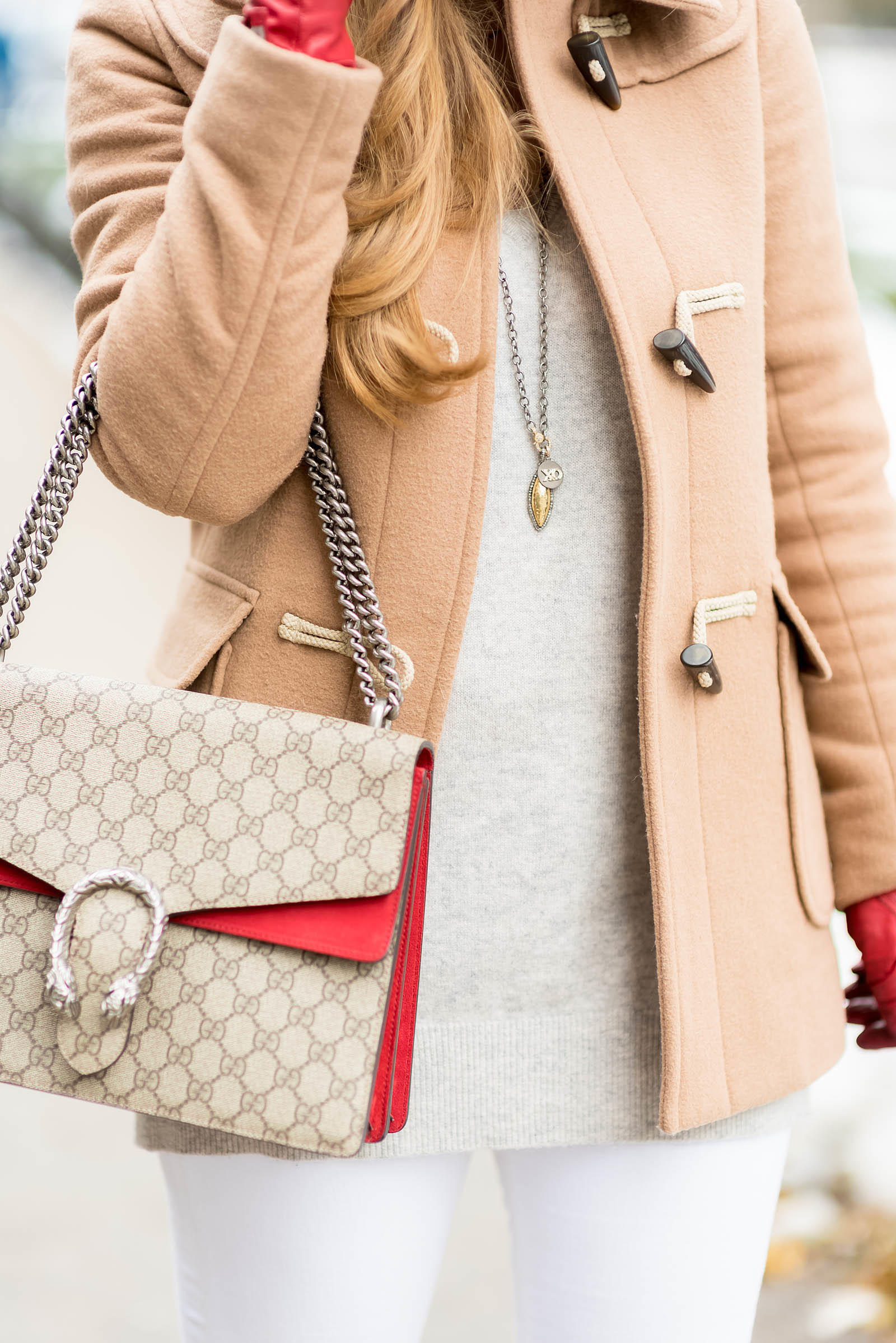 Camel Red White Gucci Winter Outfit