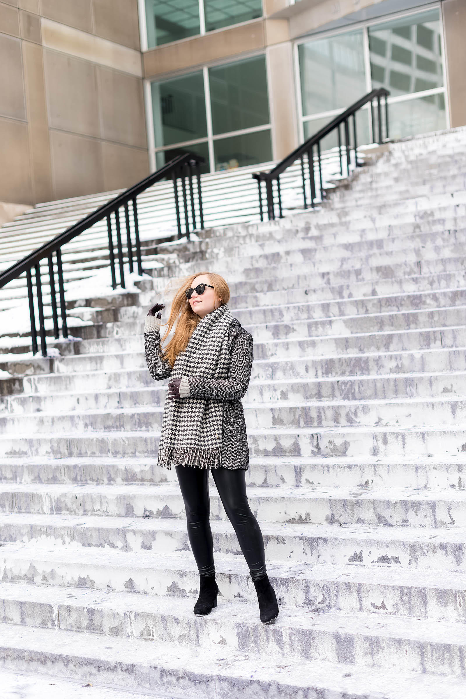 Herringbone Houndstooth Burgundy Leather Winter Outfit