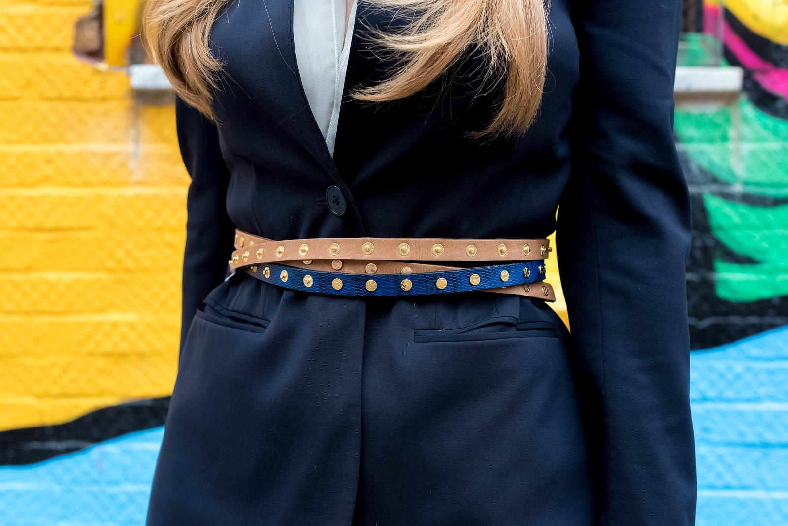 Navy Blazer Stud Belt Bow Flats Classic Outfit