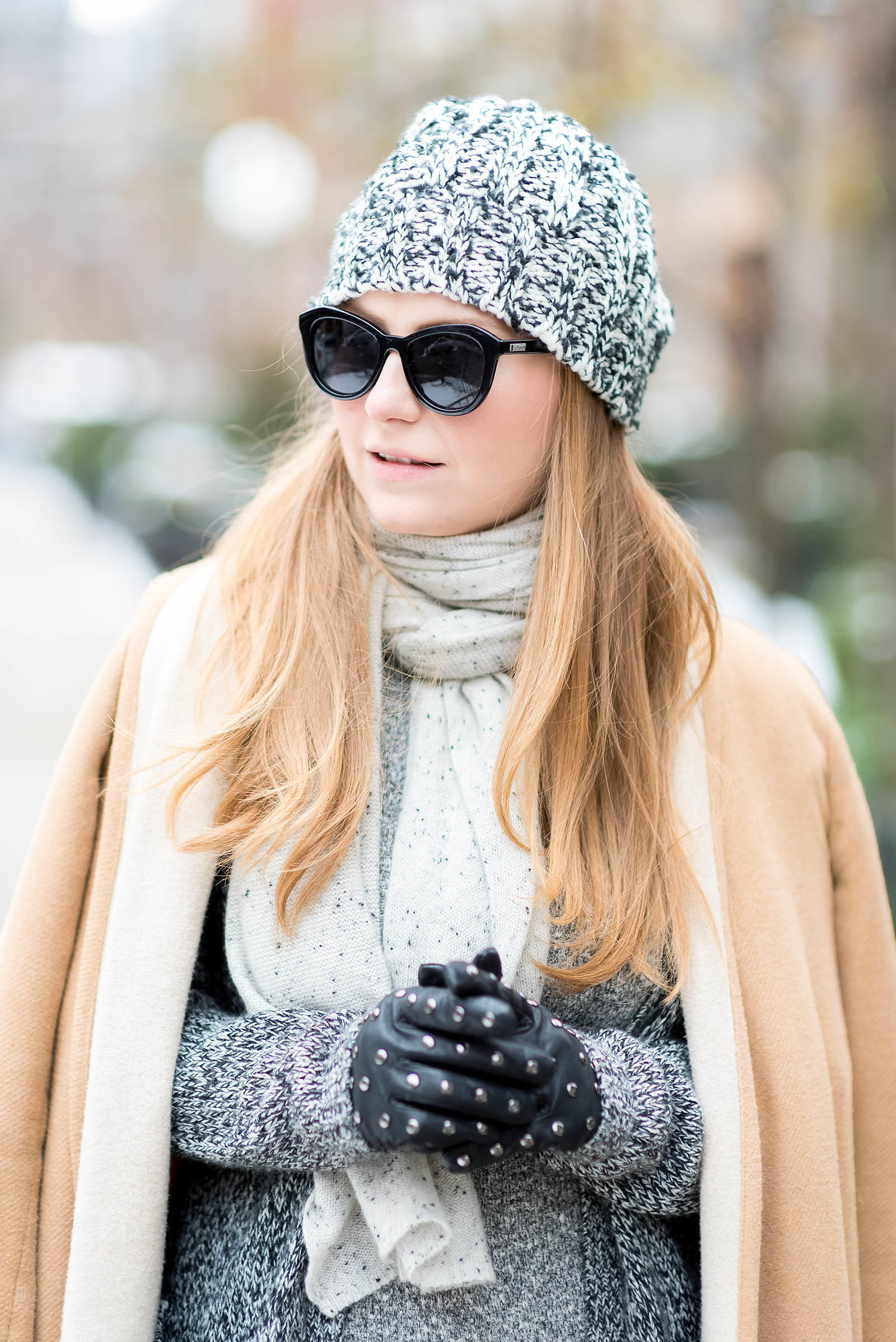 Marled Gray Knit Winter Outfit