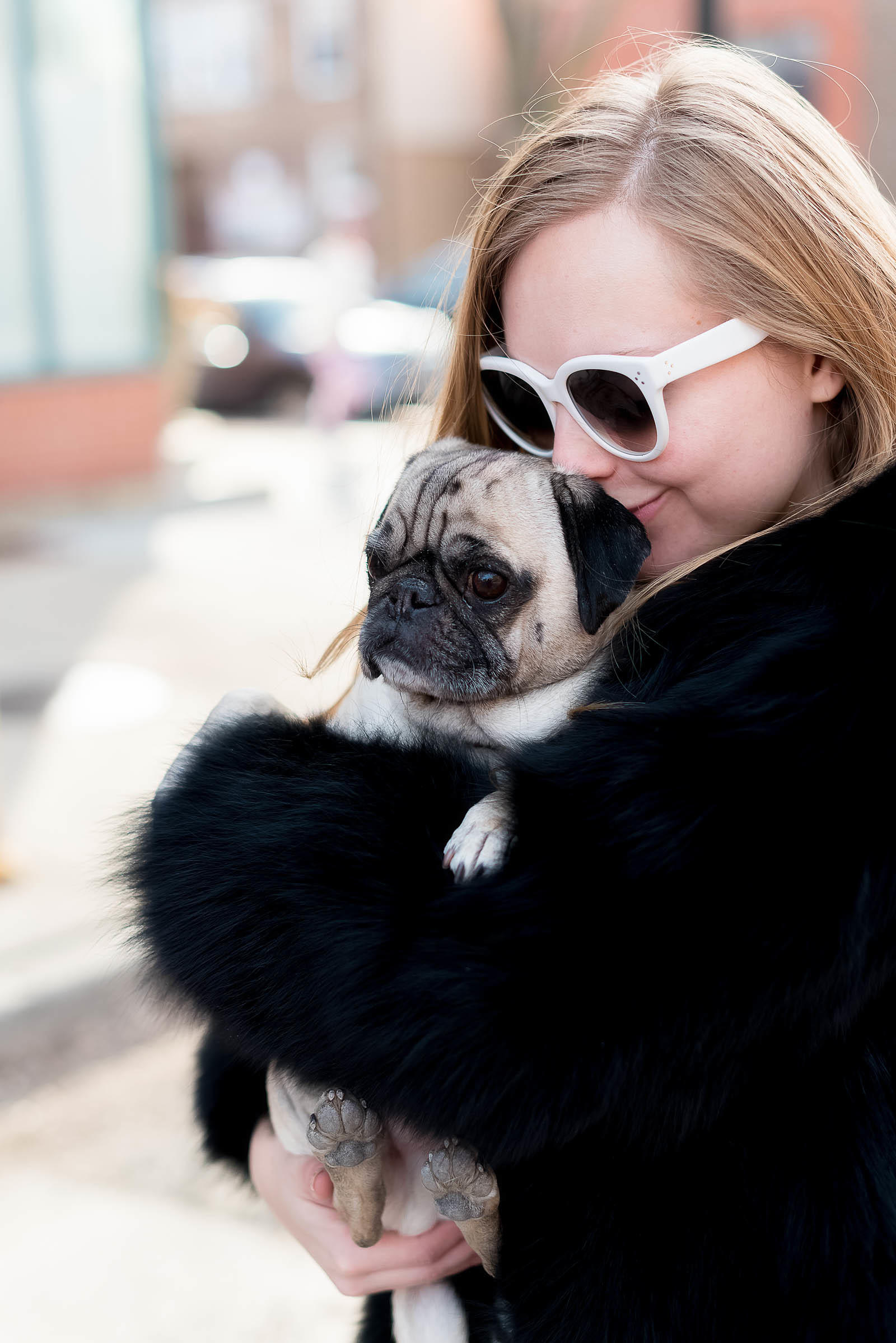 Black Fur Coat Leather Pug Chicago Outfit