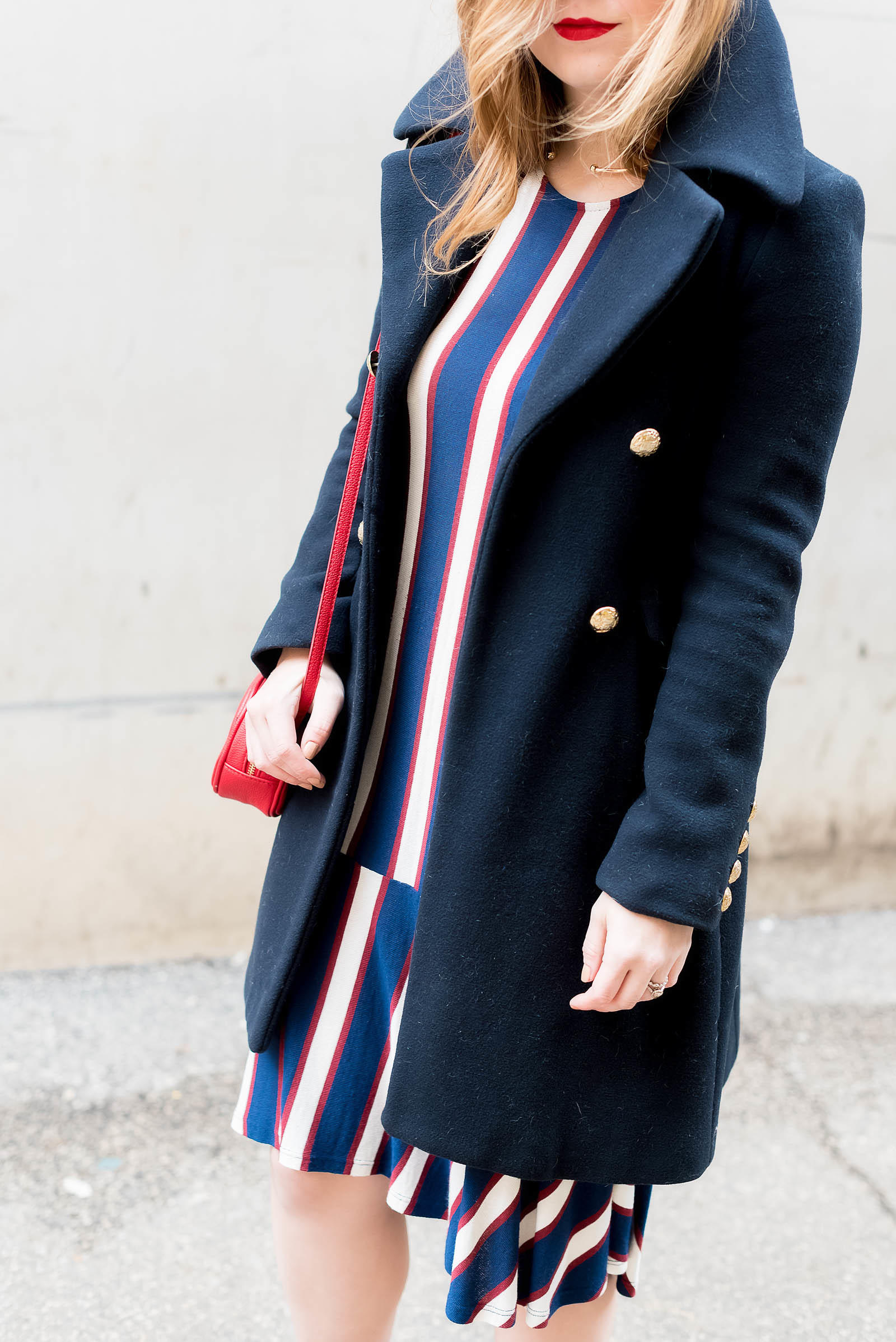 Zara Military Coat Stripe Red Pump Outfit Nautical