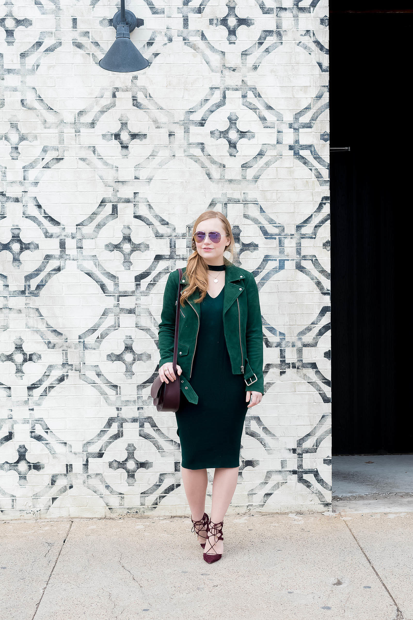 Veda Jayne Moto Jacket Green Burgundy Victoria Beckham