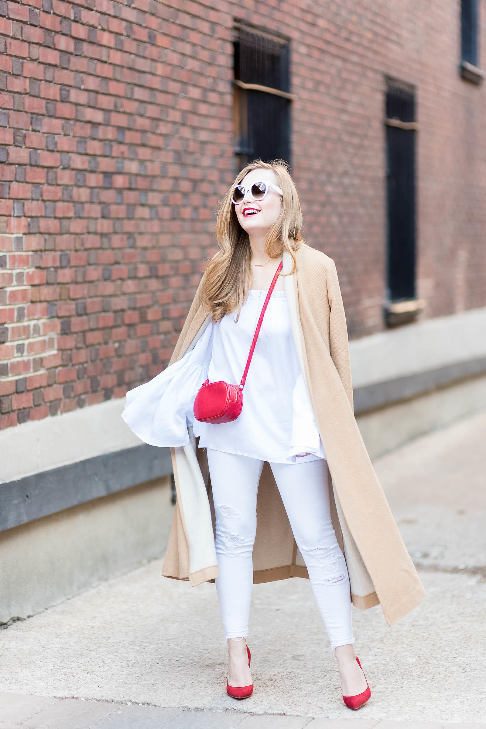 White Bell Sleeve Jeans Red Tan Chic Outift