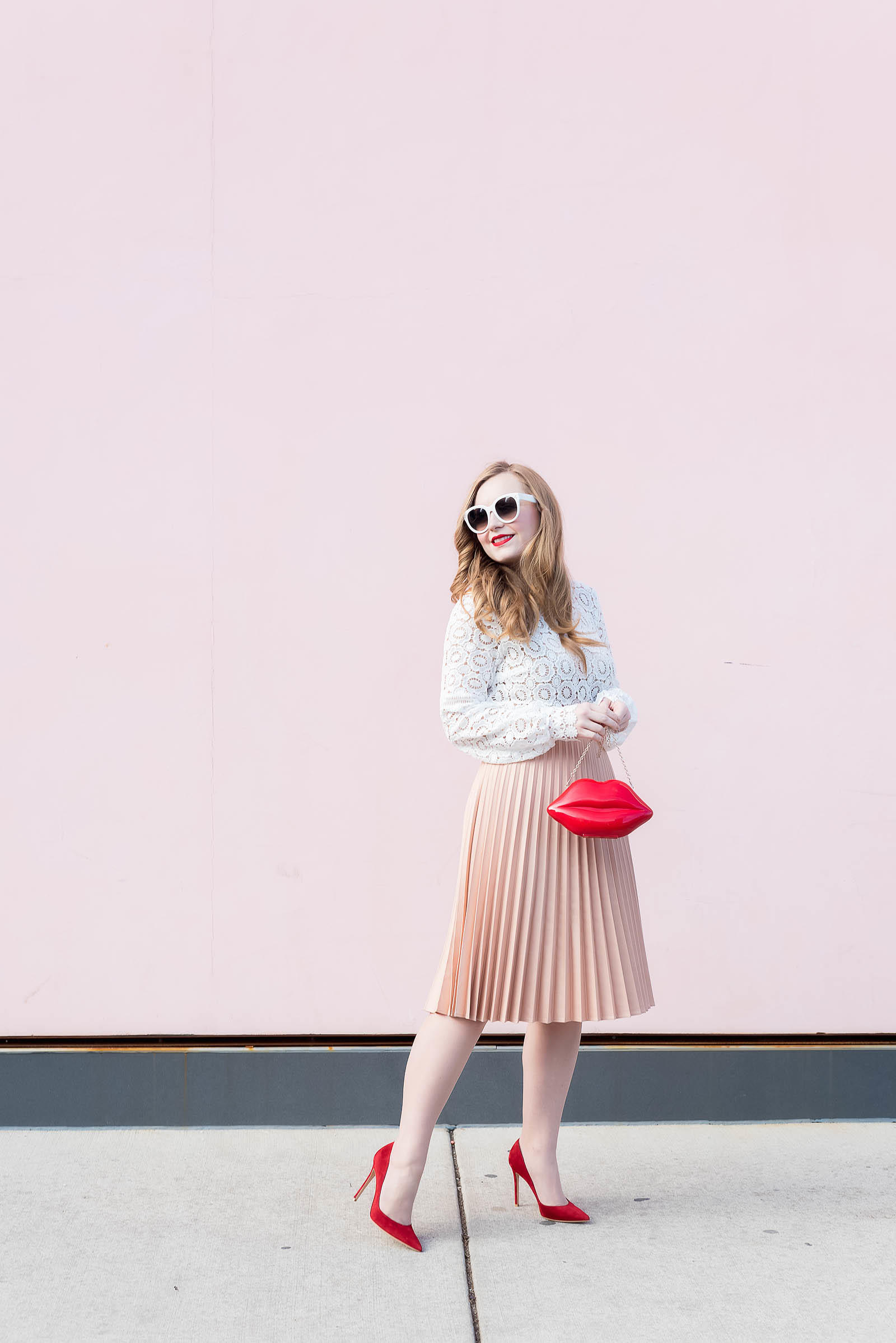 White Lace Pink Pleats Red Pumps Lips Valentine's Day Outfit