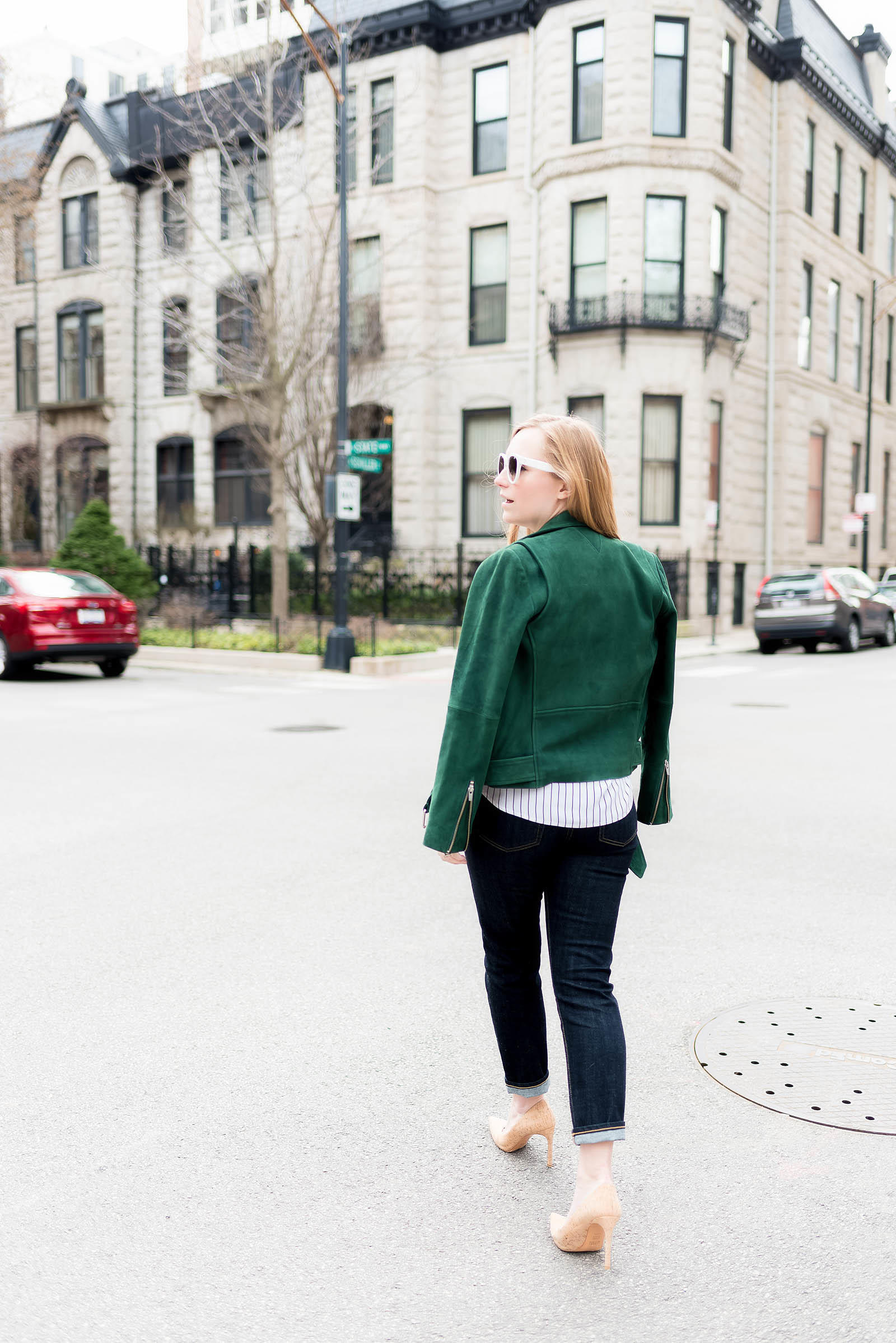 Green Suede Moto Jacket AG Jeans Cork Pumps