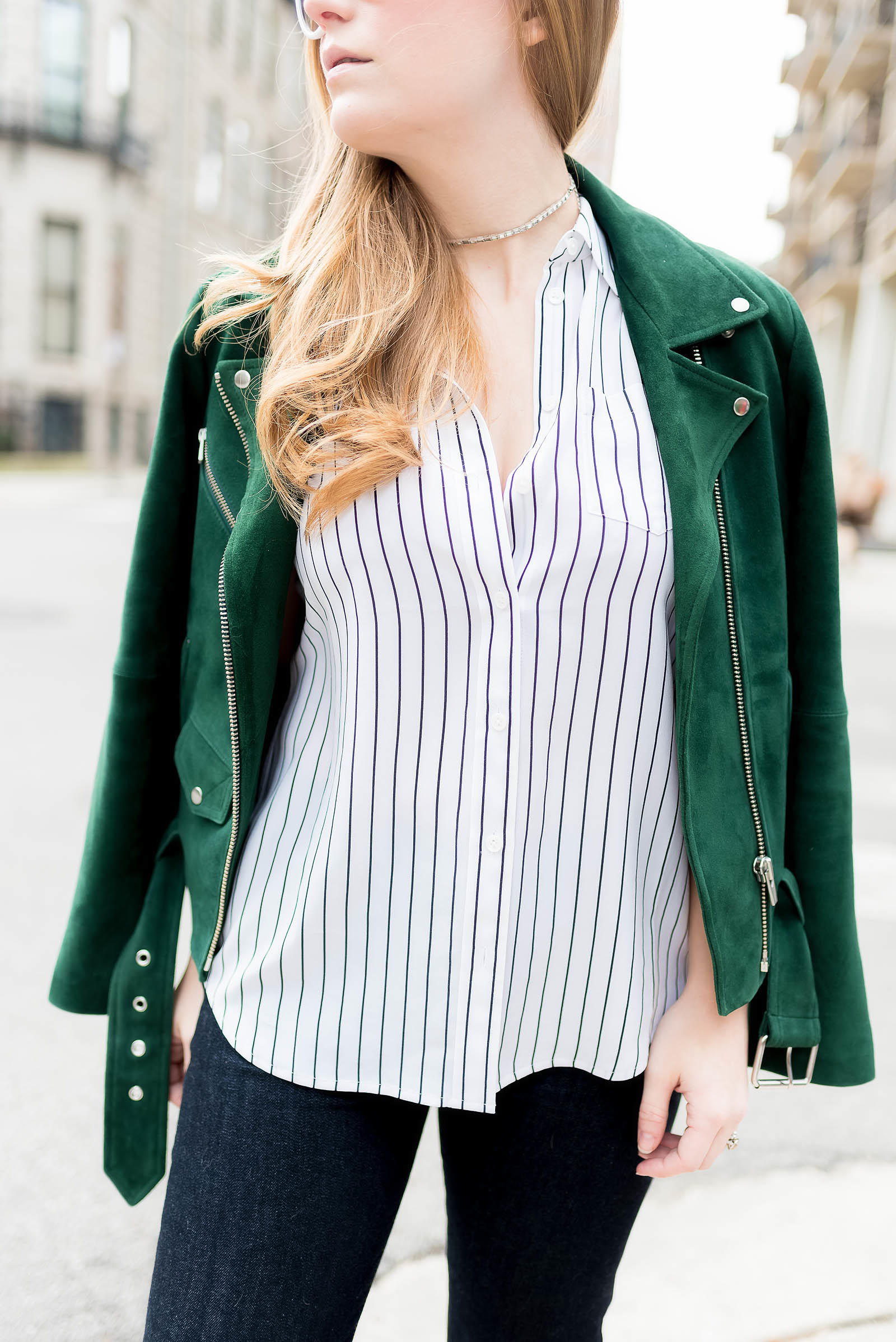 Green Suede Moto Jacket AG Jeans Cork Pumps