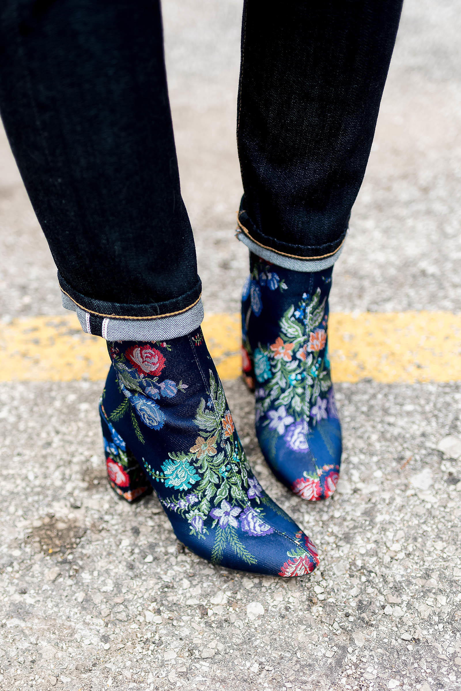 AG Jeans Embroidered Booties Outfit