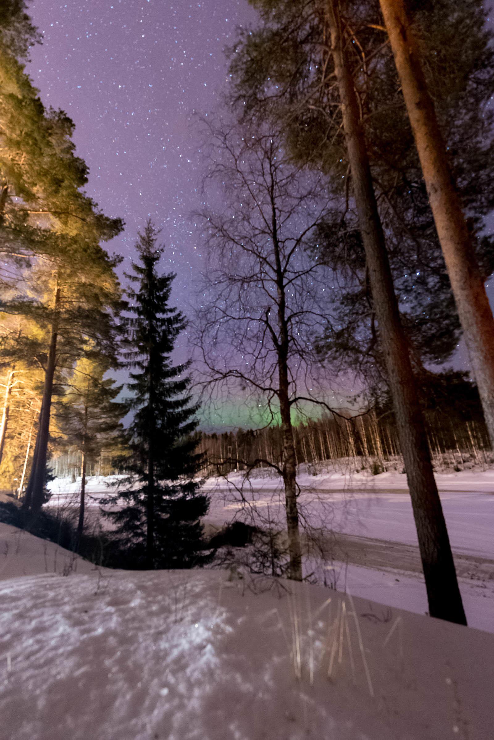 Northern Lights Lapland Rovaniemi Finland Hotel Vartiosaari
