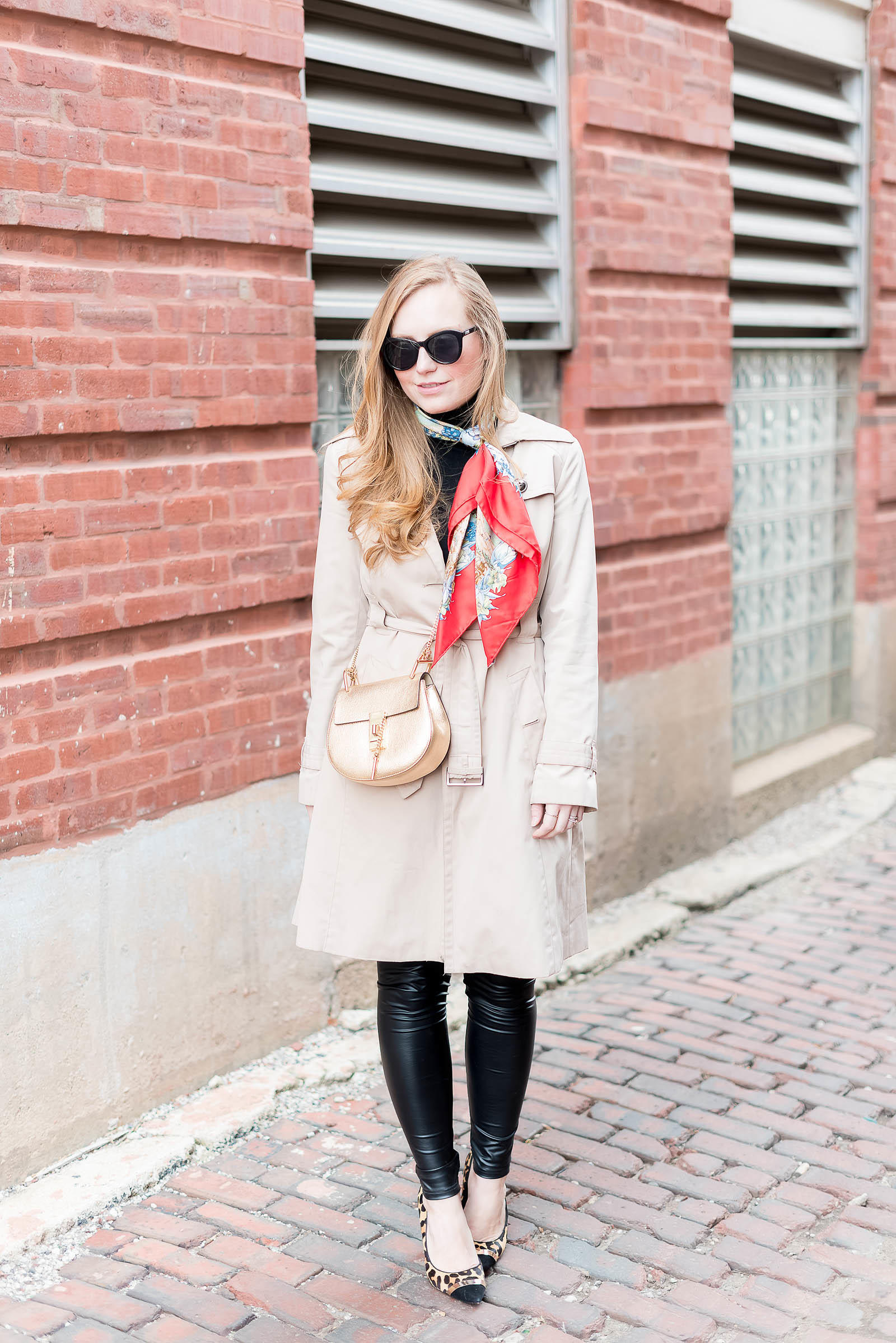 Classic Trench Hermes Scarf Leather Outfit