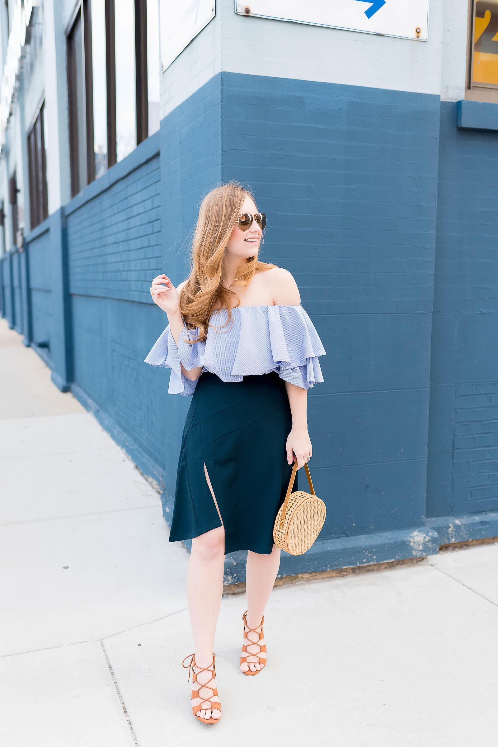 Straw Basket Bag Trend Spring Outfit Off the Shoulder