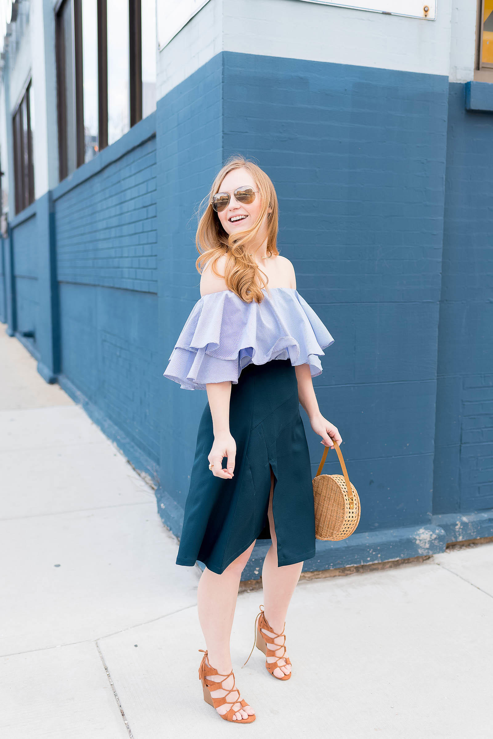 Straw Basket Bag Trend Spring Outfit Off the Shoulder