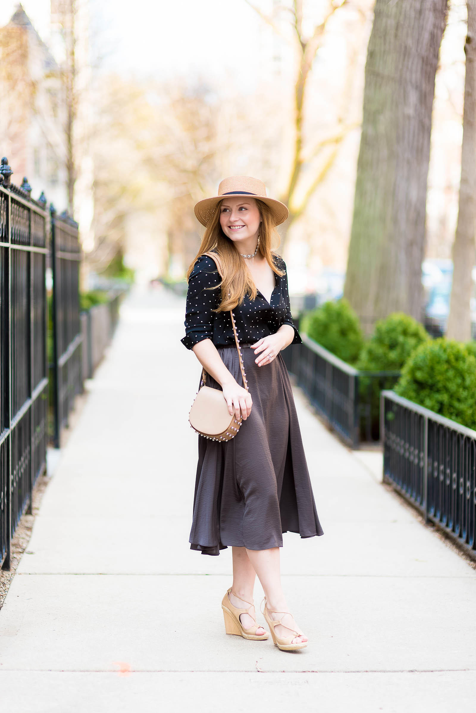 Summer Midi Skirt Outfit Boater Hat Alexander Wang Aquazzura