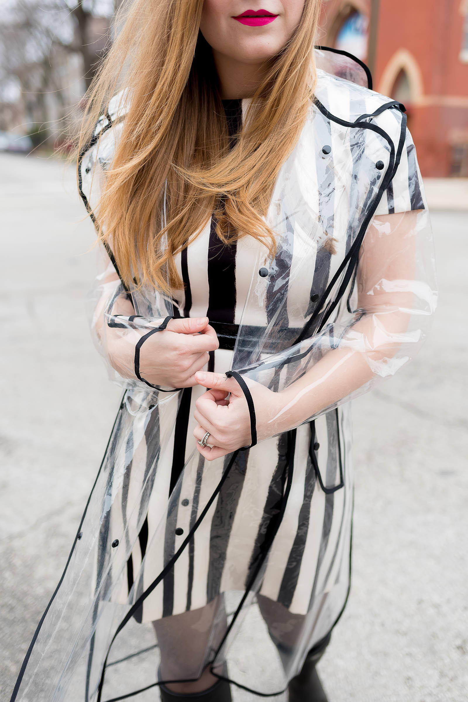 Striped Rainy Day Outfit Inspiration with Wellies