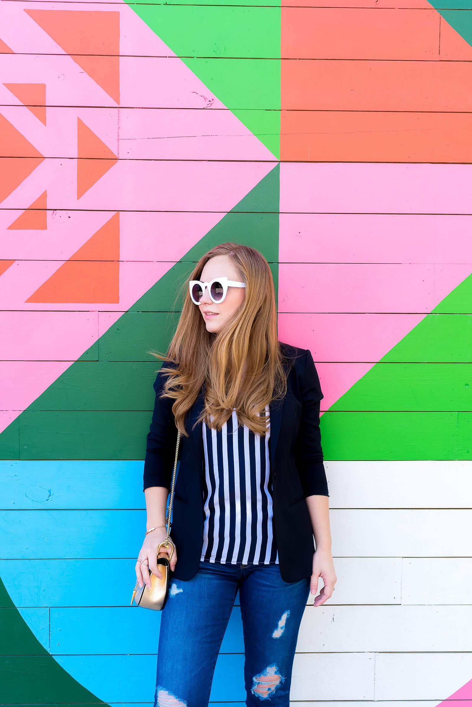 AG Legging Jeans Chloe Drew Bag Striped Outfit