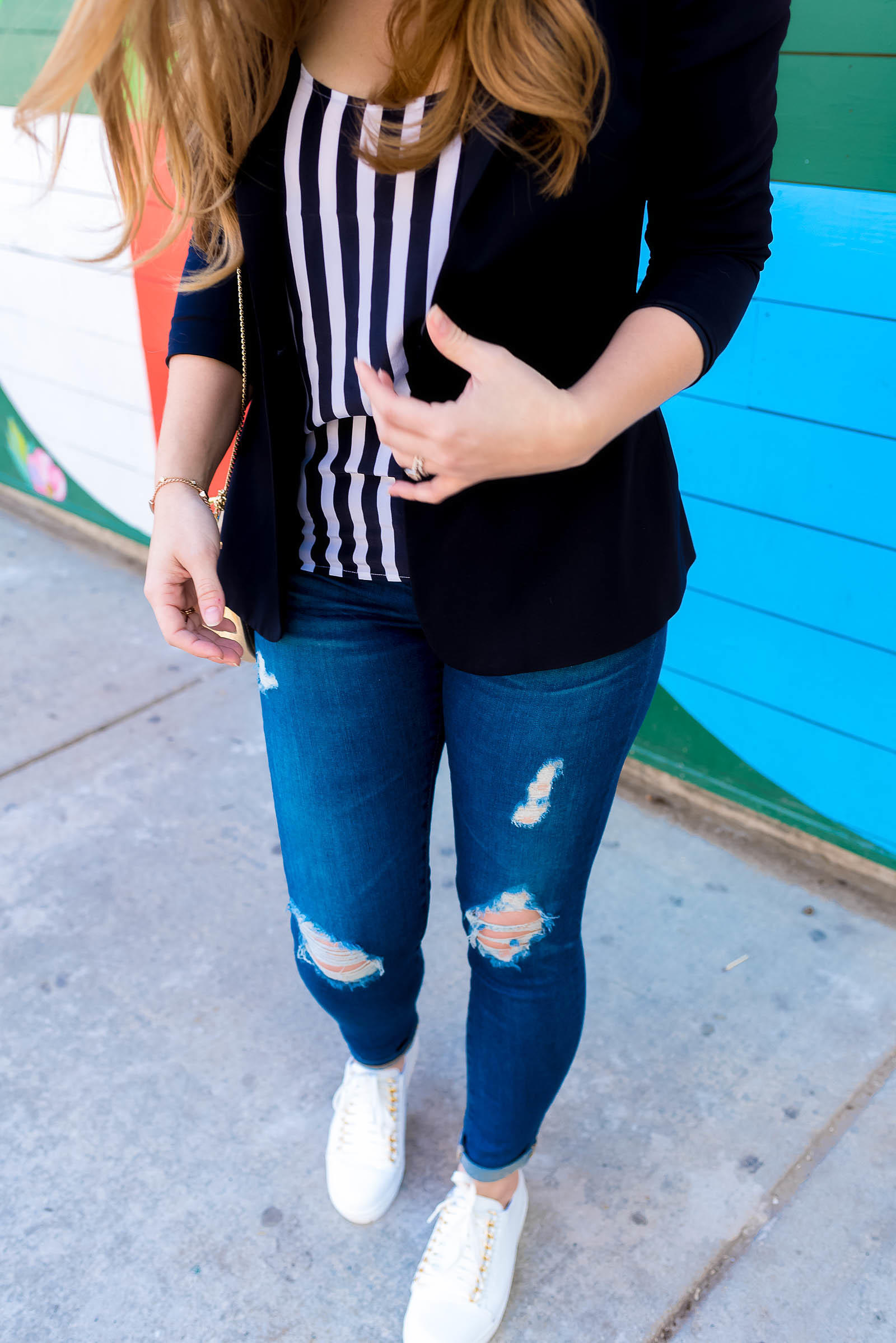 AG Legging Jeans Chloe Drew Bag Striped Outfit