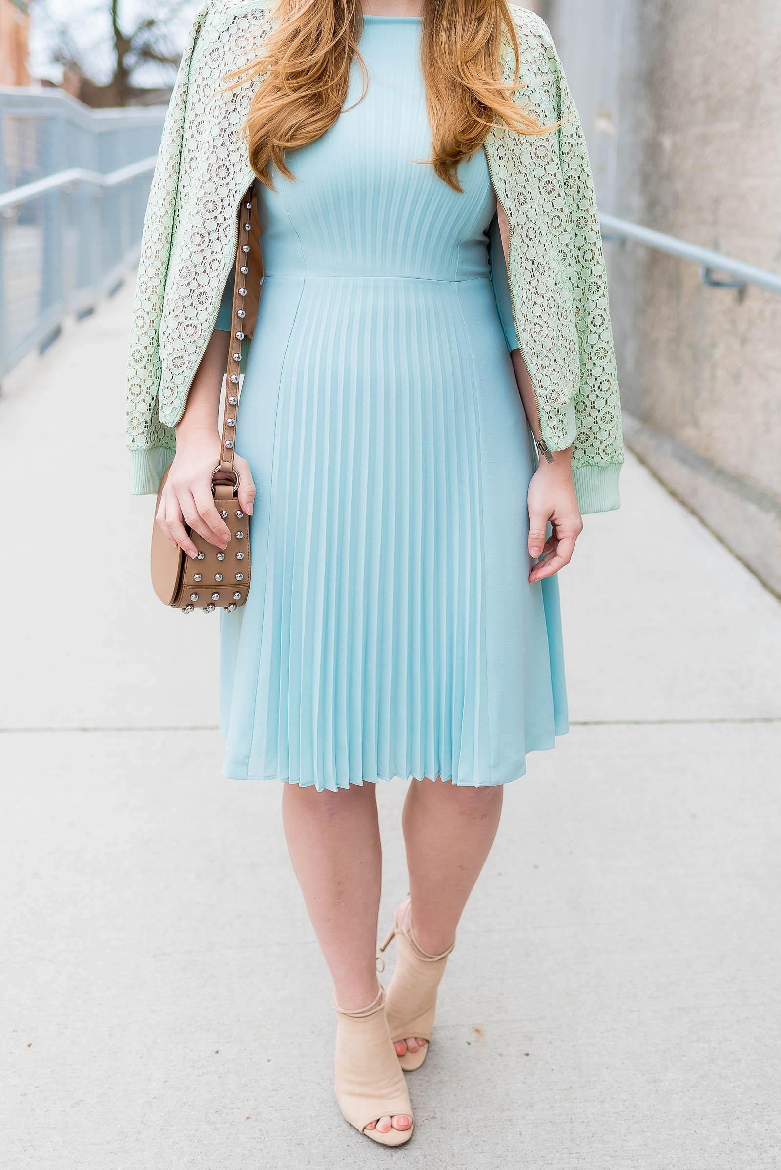 Hugo Boss Duck Blue Pleated Dress, Victoria Beckham for Target Lace Mint Green Bomber Jacket, Aquazzura Mayfair Booties in Nude Suede, Alexander Wang Lia Mini Studded Bag