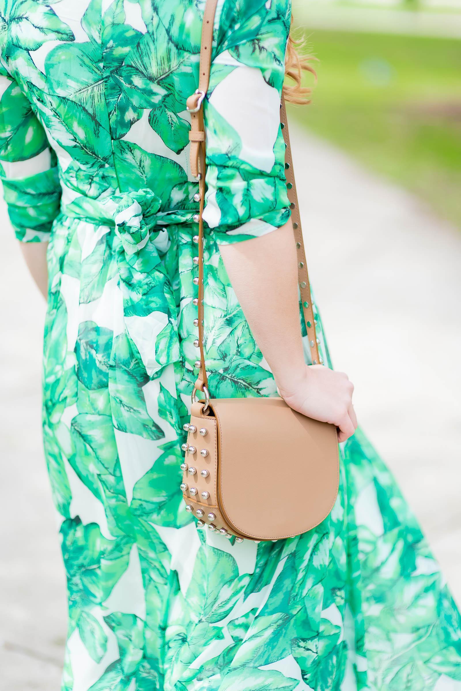 Palm Print Maxi Dress Stud Bag Outfit