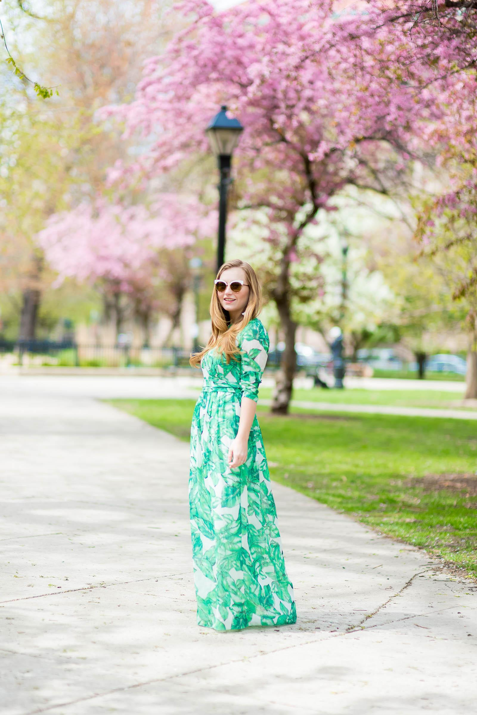 Palm Print Maxi Dress Stud Bag Outfit