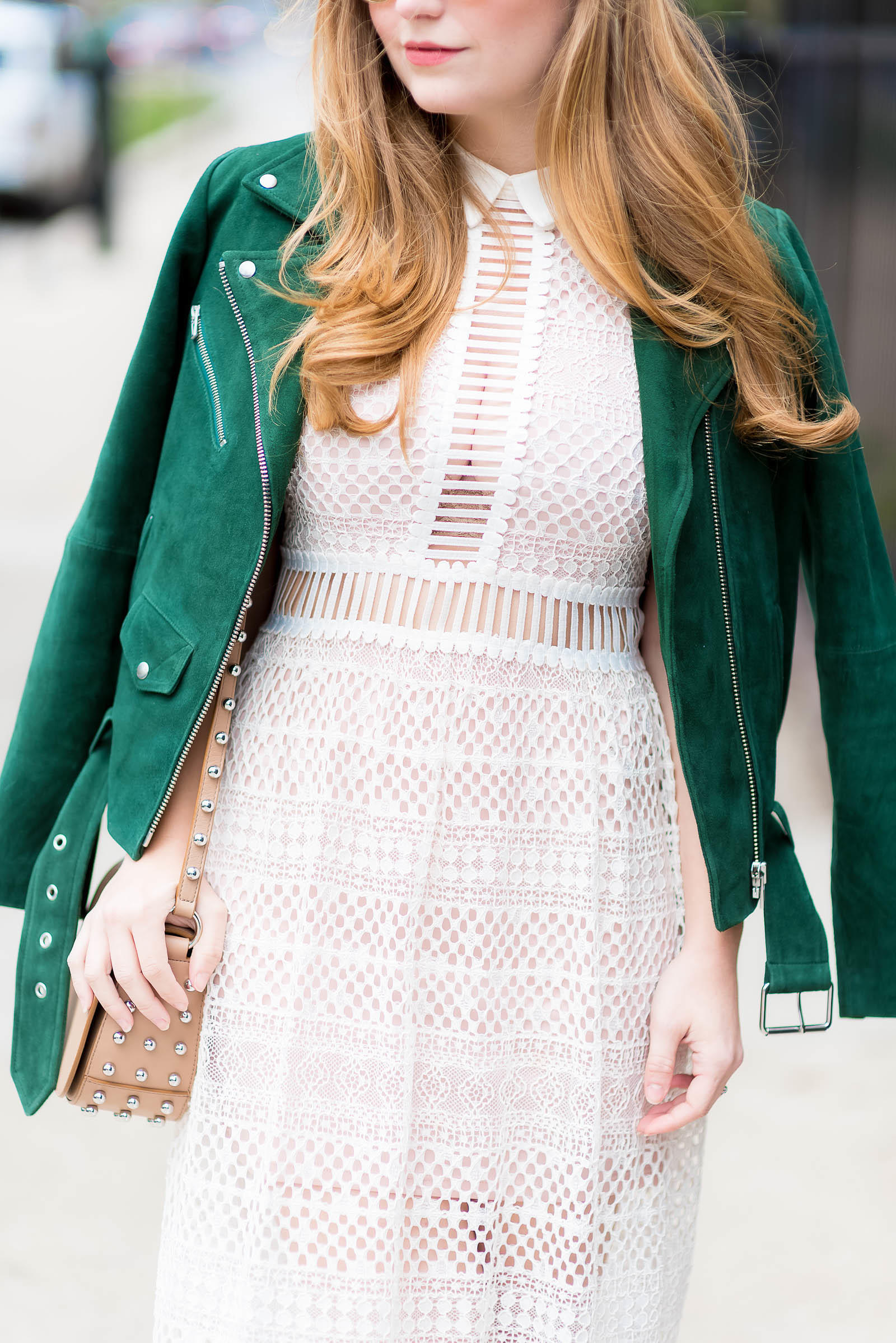 Green Suede Moto Jacket Lace Dress Stud Bag