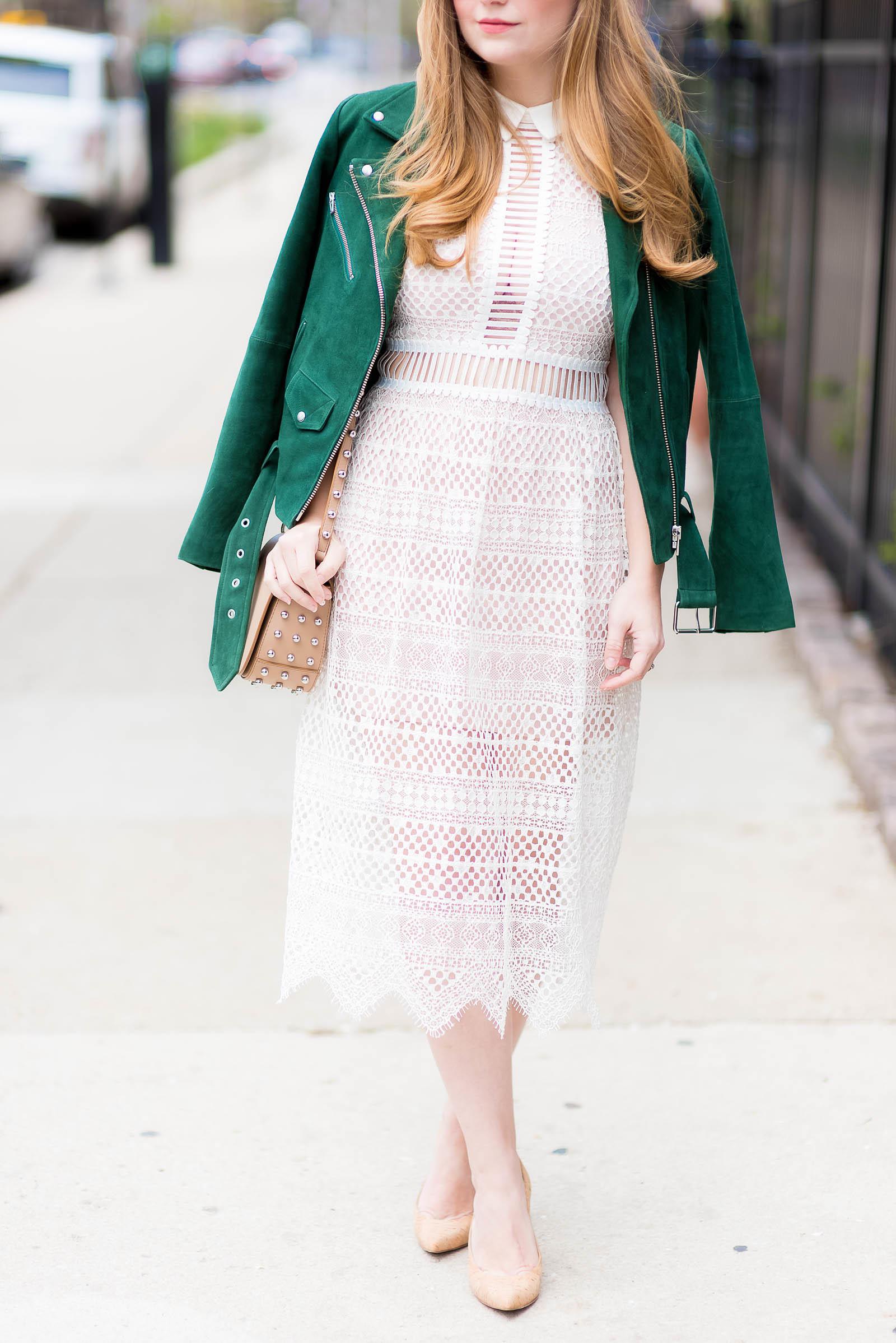 Green Suede Moto Jacket Lace Dress Stud Bag