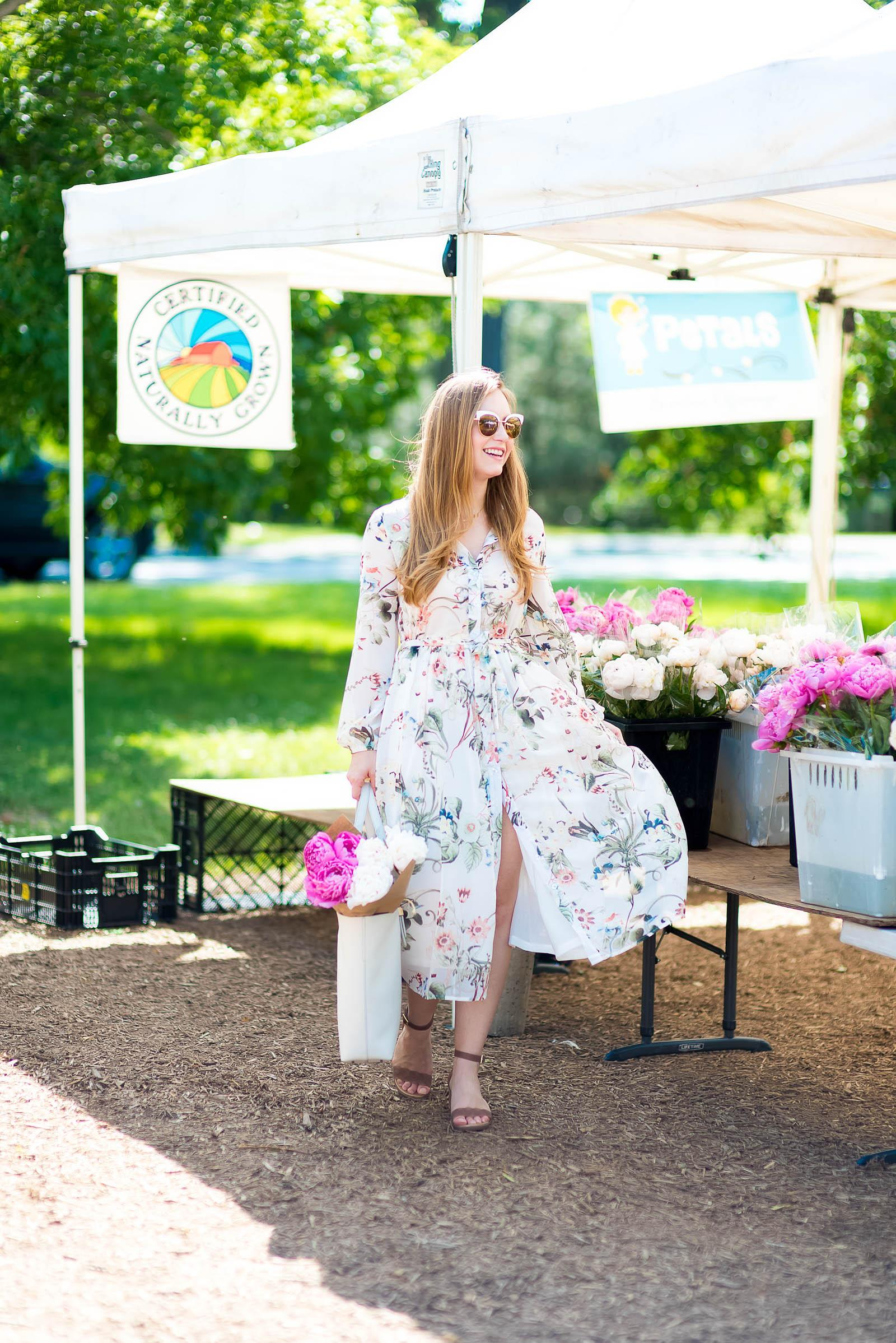 Summer Floral Midi Dress Farmers Market Outfit