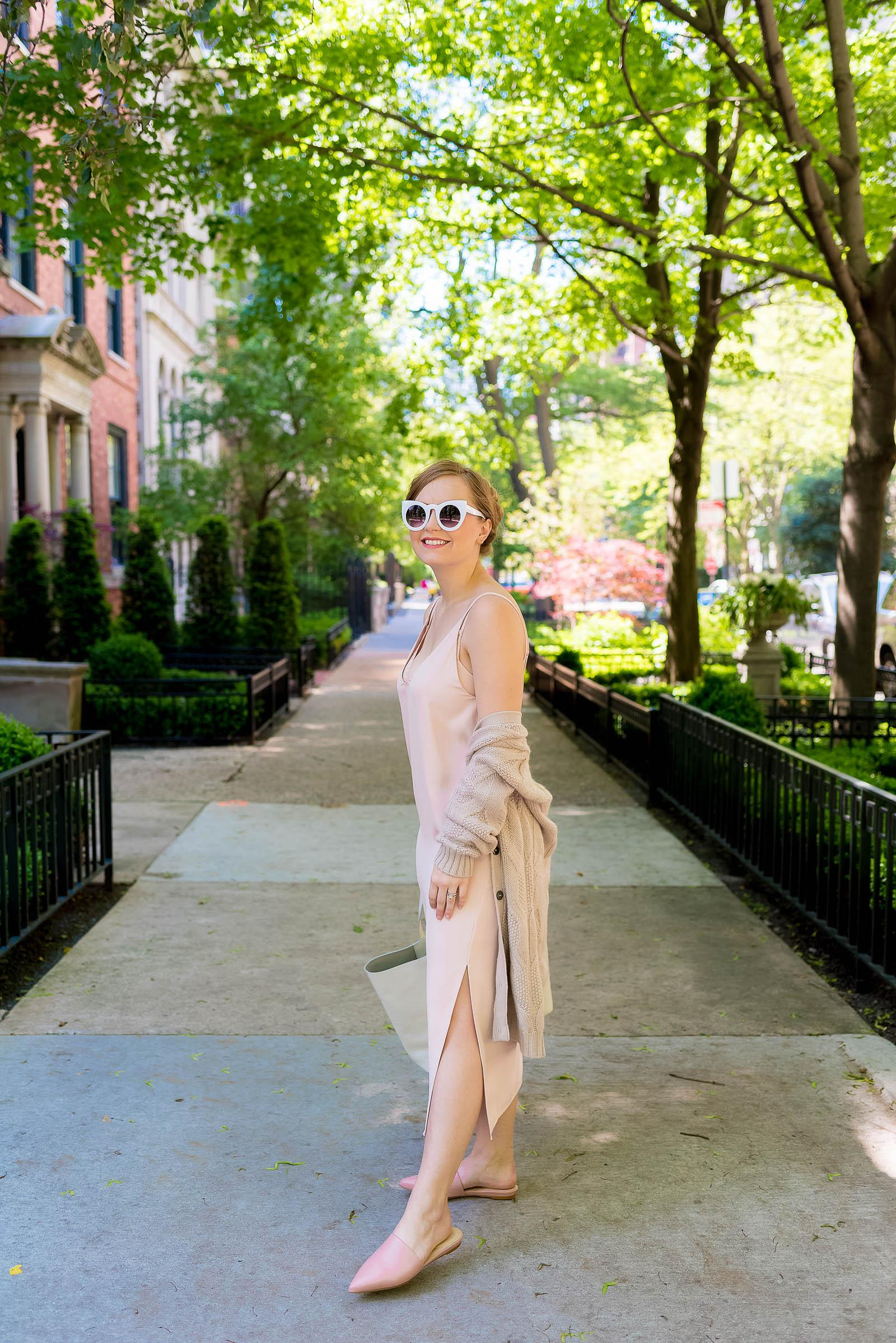 Everlane Slip Dress Pointed Slide Petra Market Tote