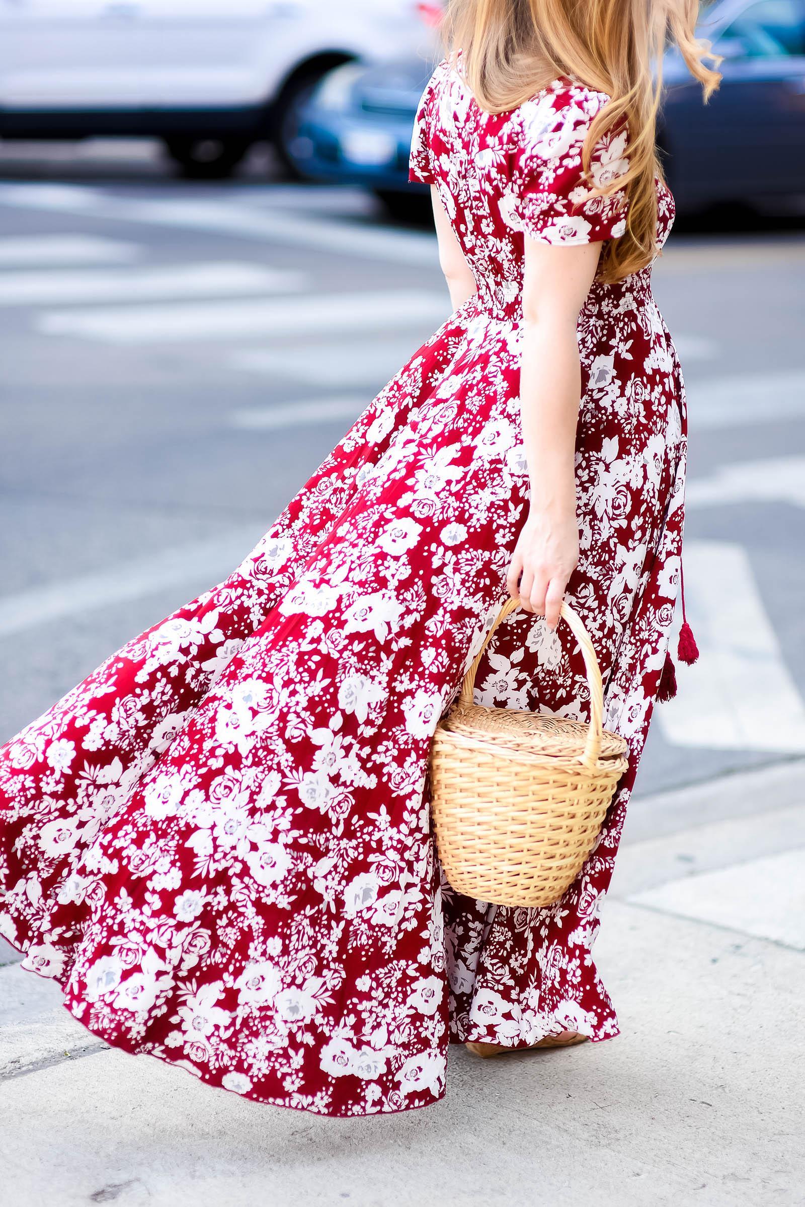 Burgundy Floral Maxi Dress Basket Bag Style