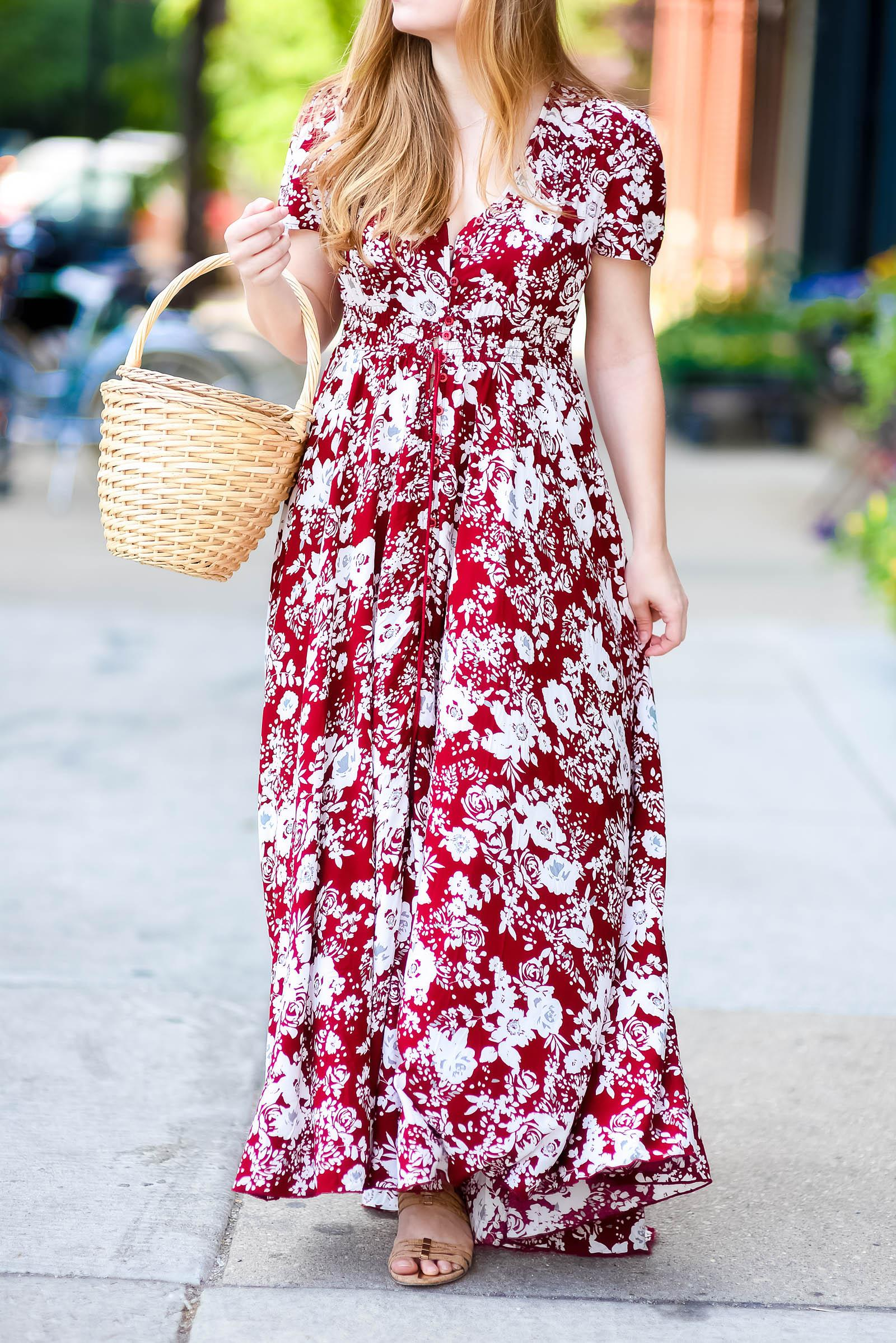 Burgundy Floral Maxi Dress Basket Bag Style