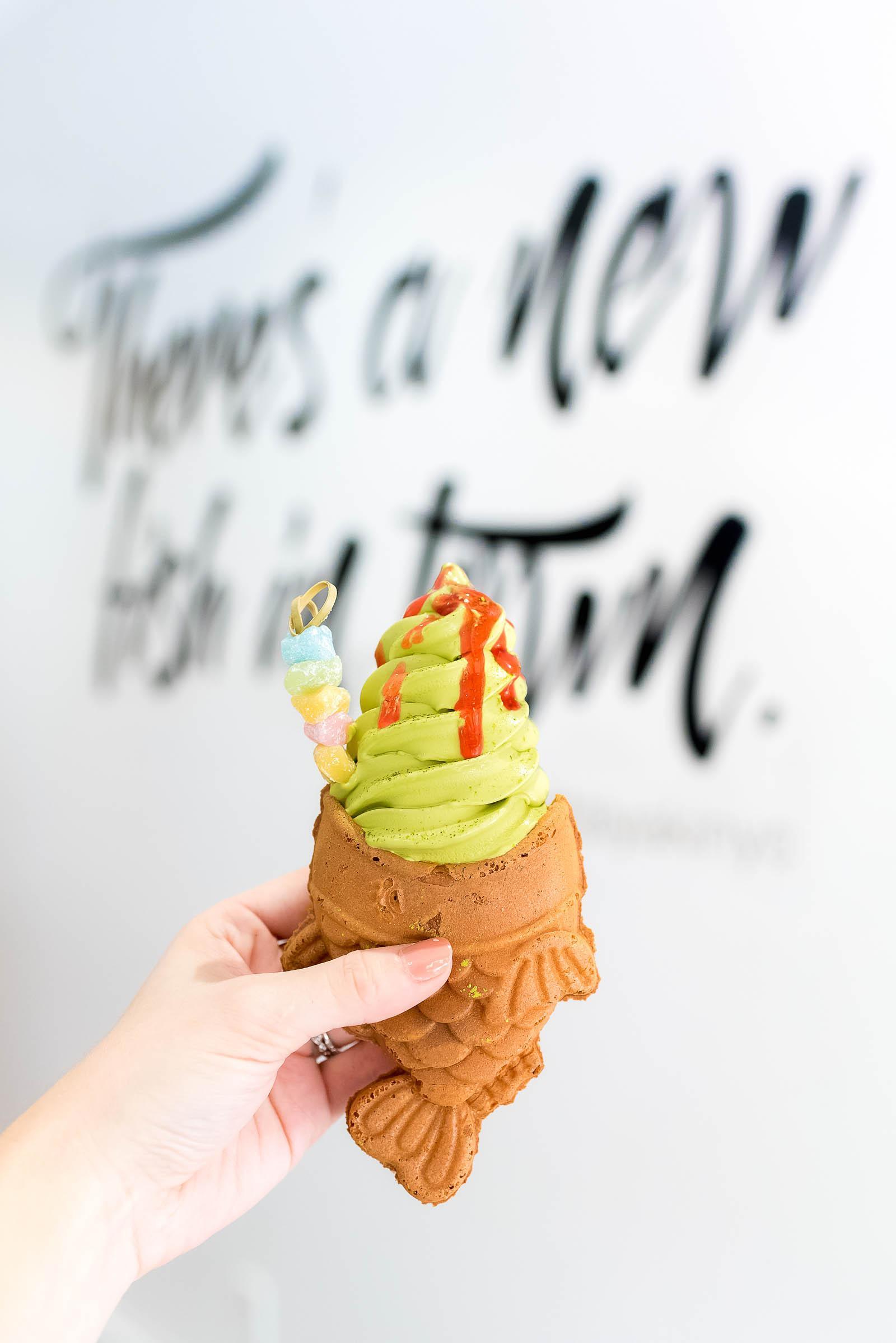 Taiyaki NYC Japanese Fish Waffle Cone Ice Cream