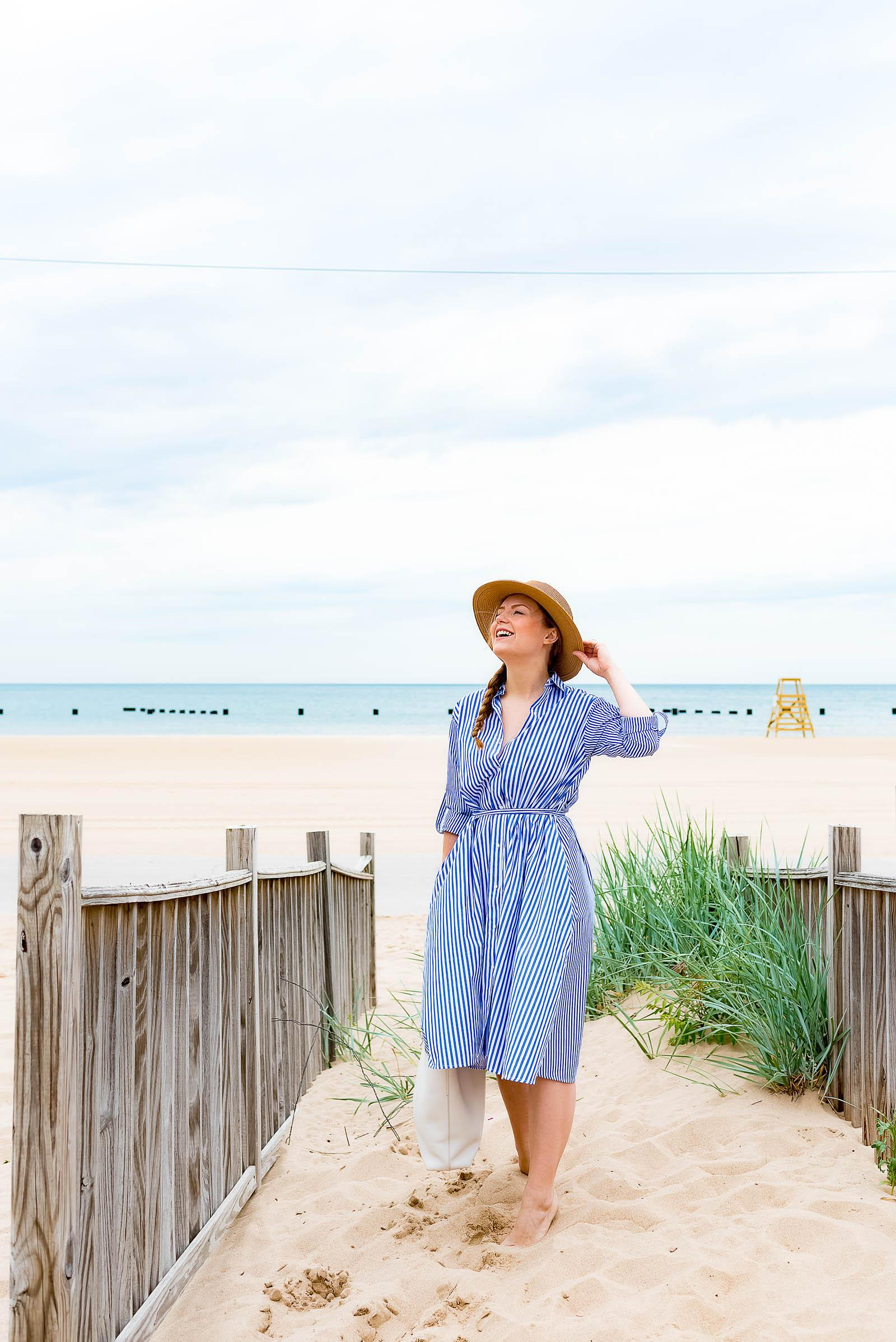 Summer Striped Shirtdress Beach Outfit