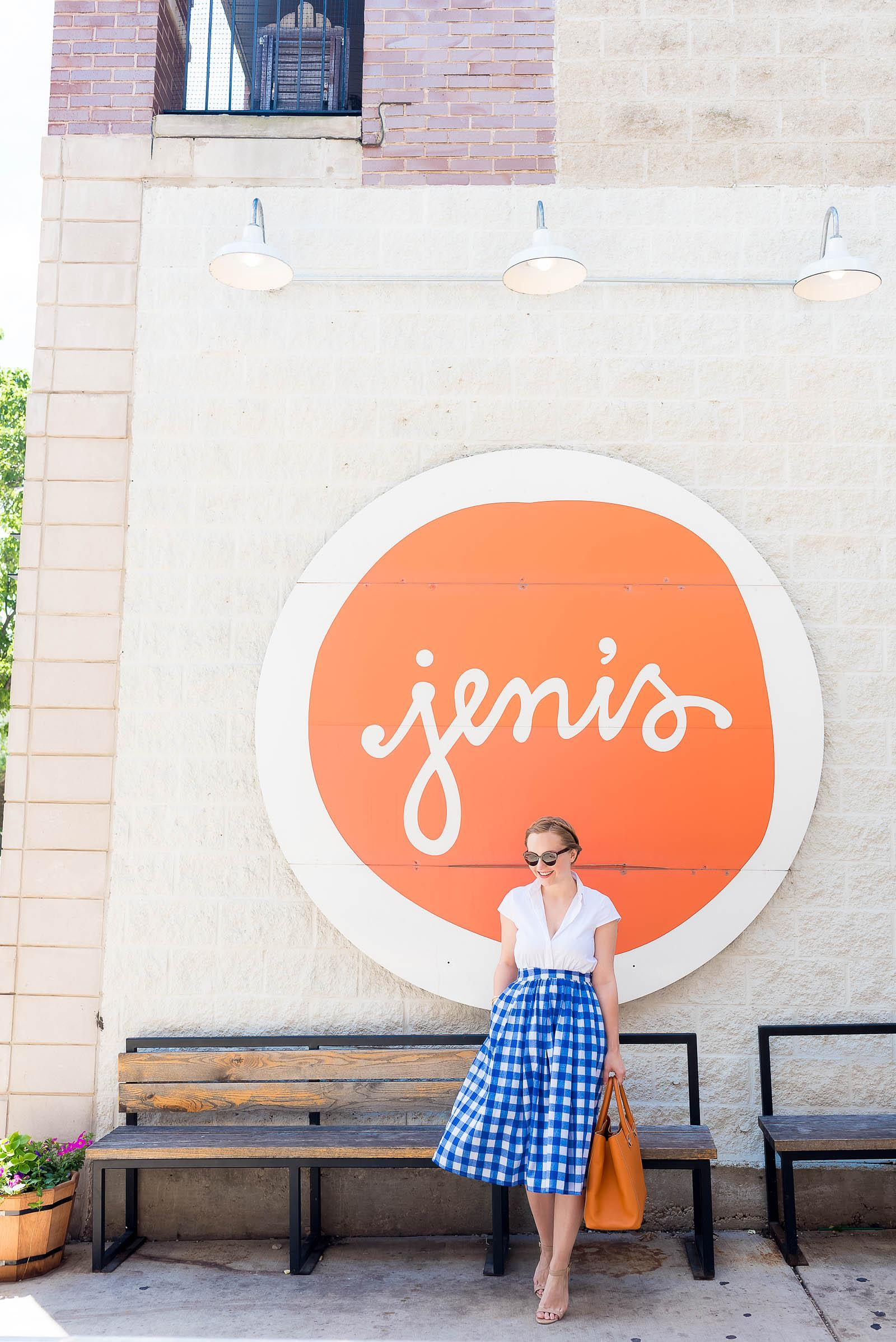 Summer Blue Gingham Vintage Outfit Ice Cream