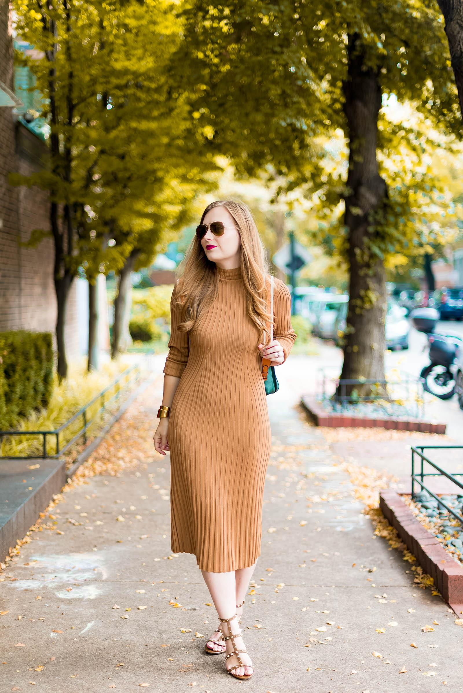 Fall Sweater Dress Outfit with MCM Backpack