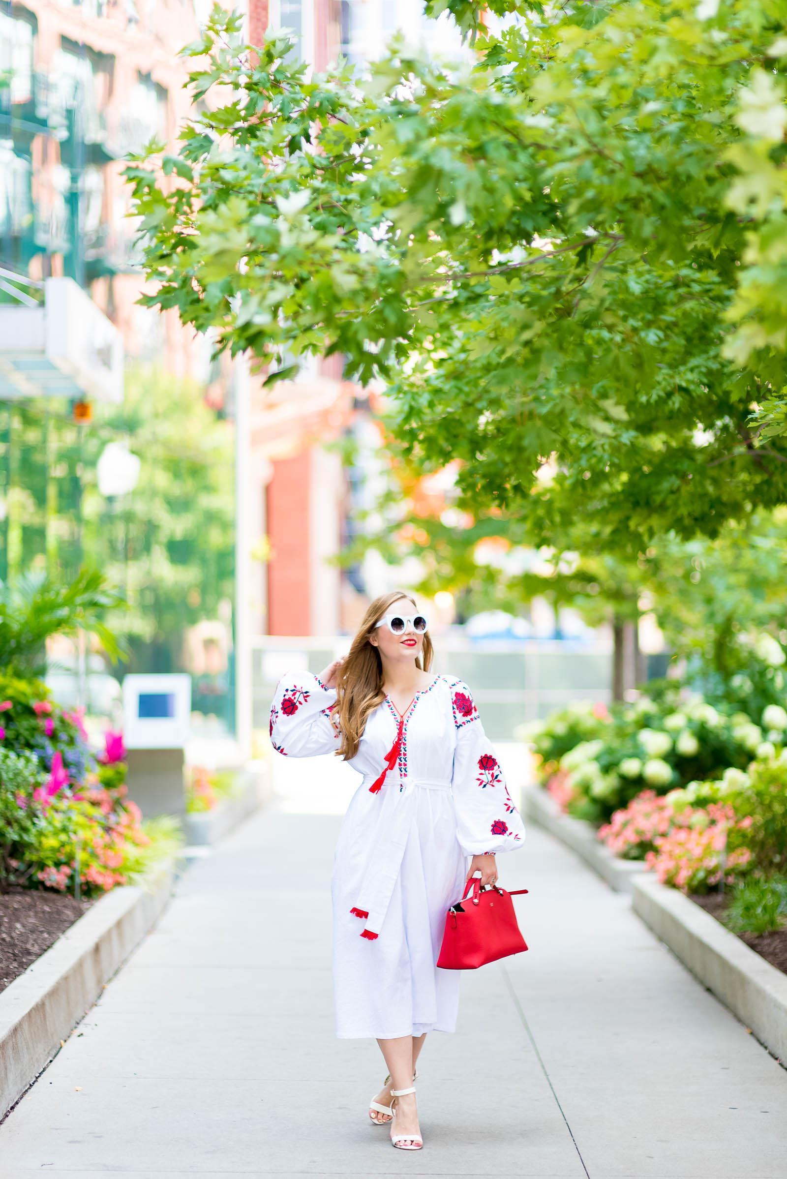 Red White Ukranian Dress Fendi Bag