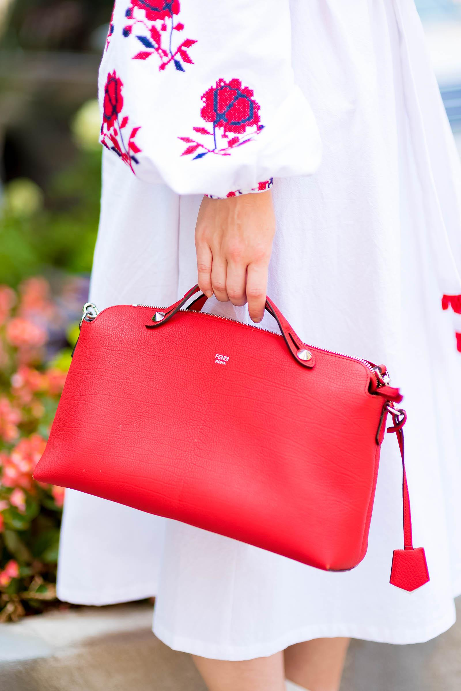 Red White Ukranian Dress Fendi Bag