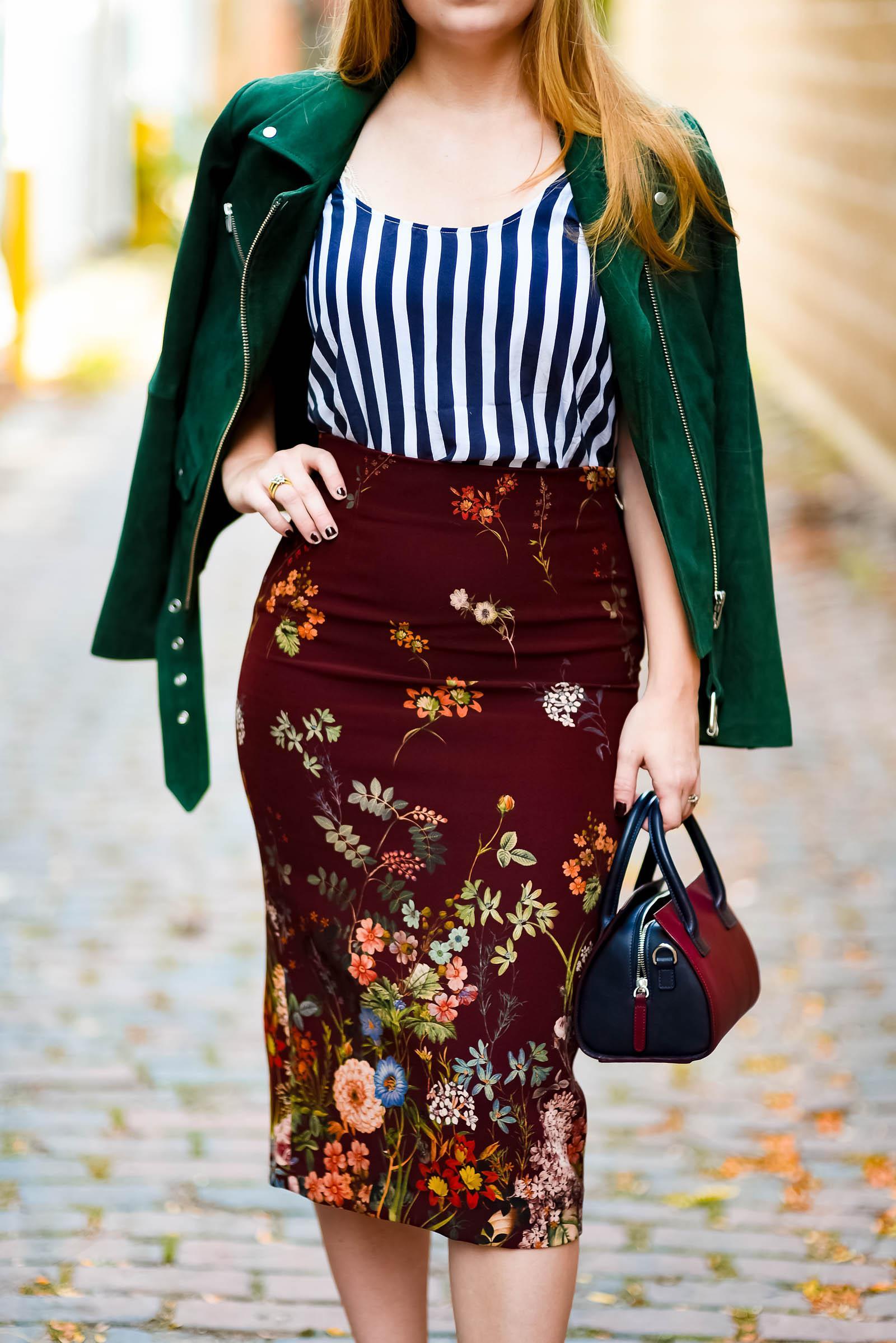 Moto Floral Stripe Autumn Outfit