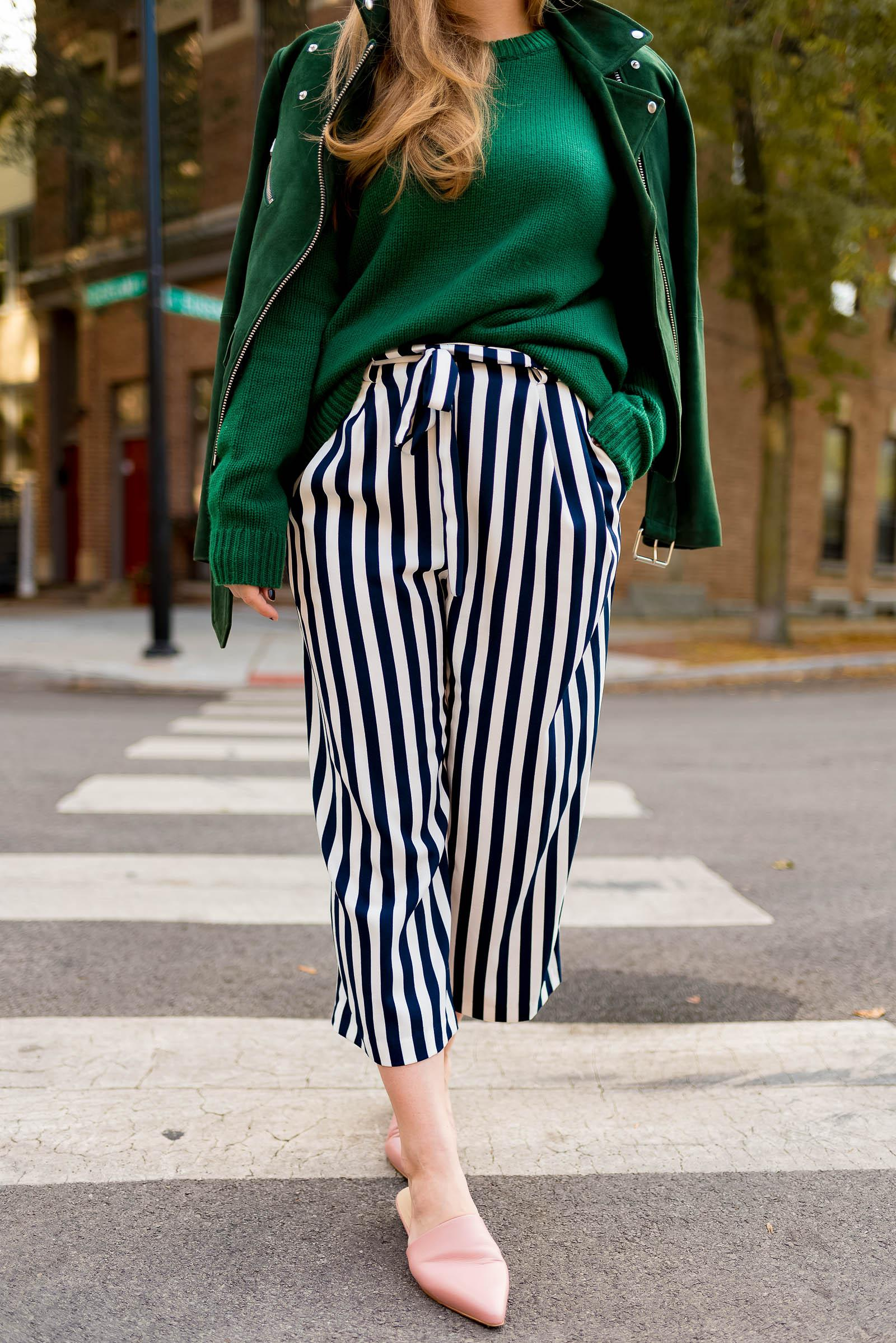 Green Suede Striped Fall Outfit
