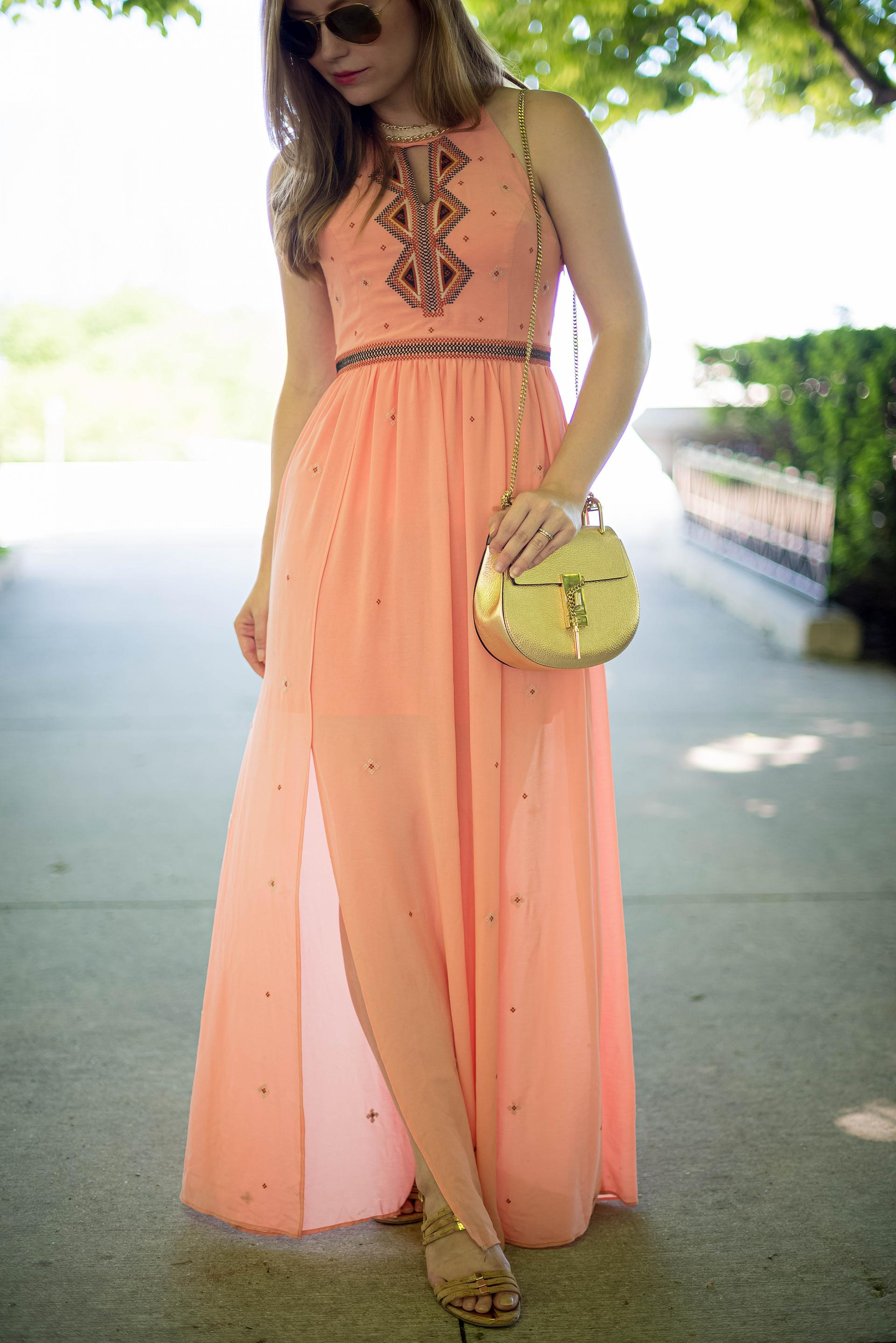 Coral Maxi Dress Summer Outfit