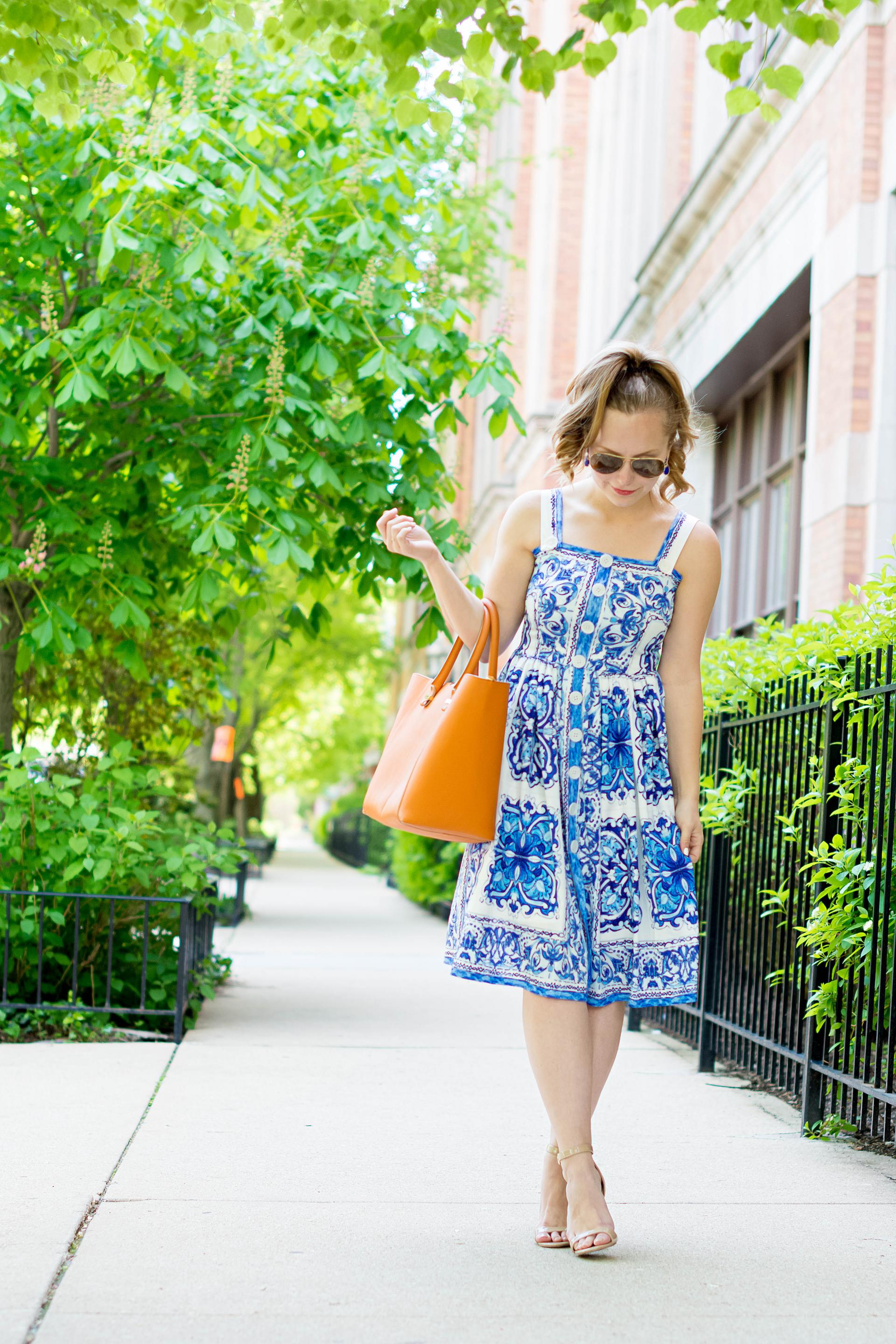 Summer Blue Tile Print Dress Orange Tote Outfit