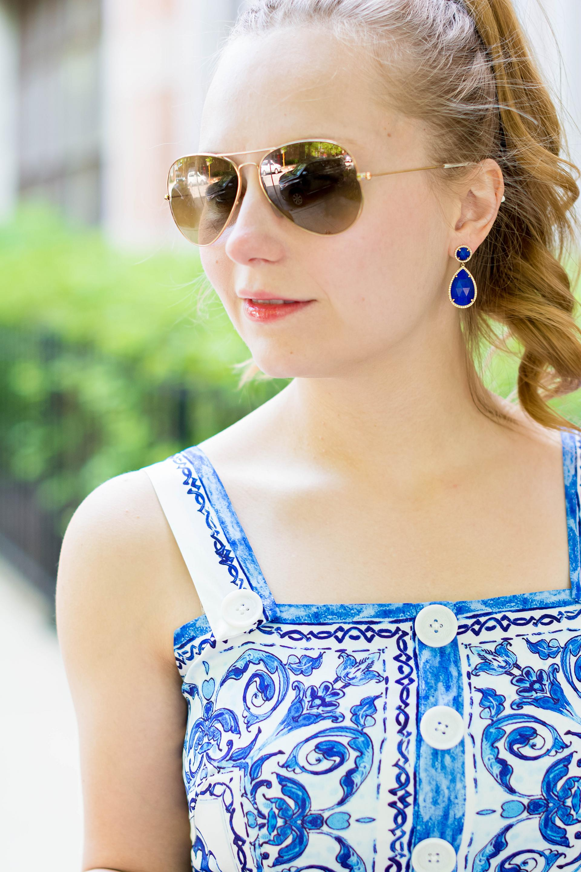 Summer Blue Tile Print Dress Orange Tote Outfit