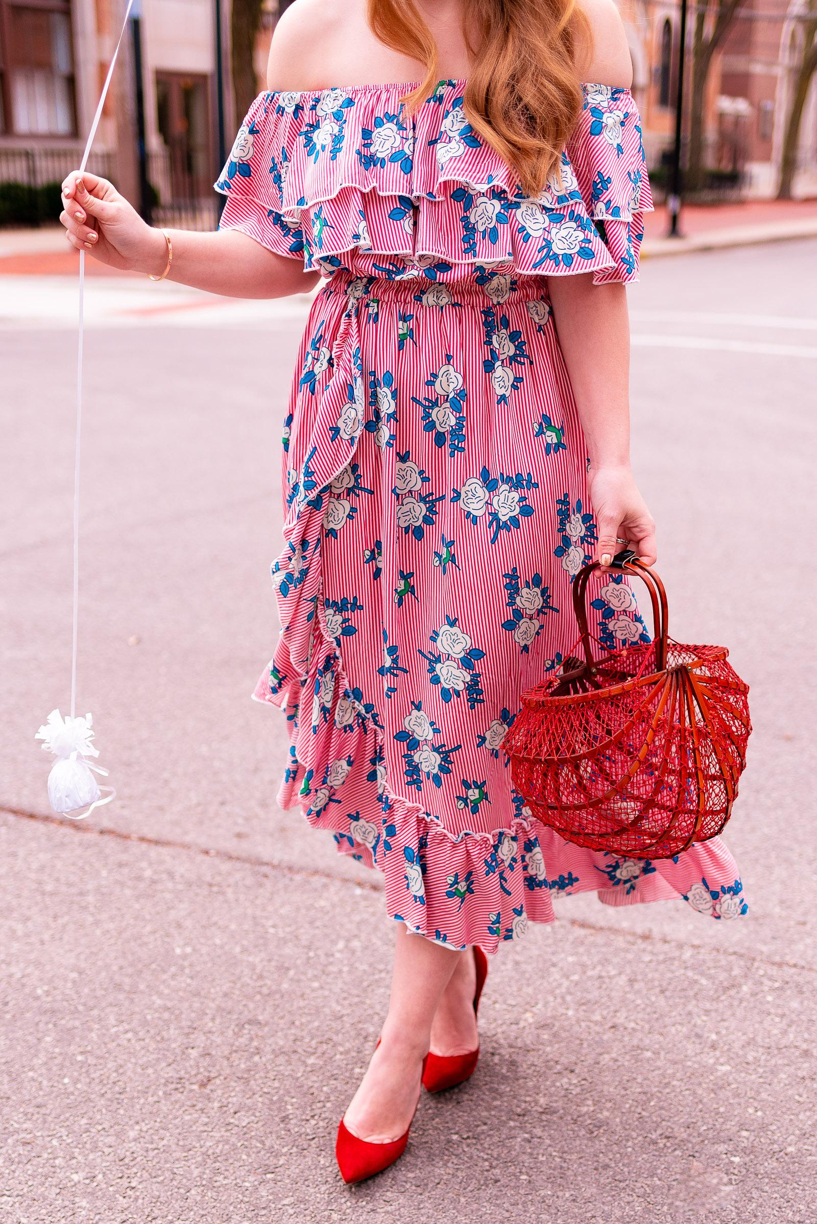 Red Floral Ruffle Spring Outfit