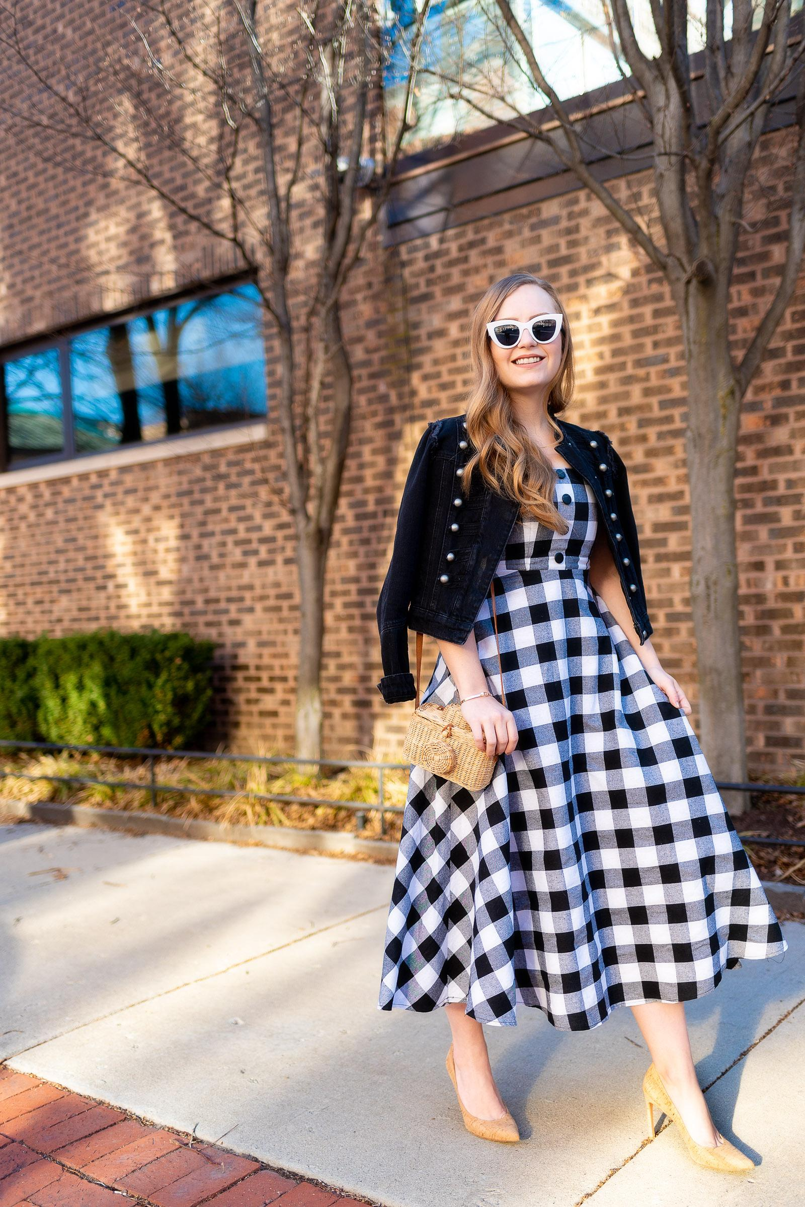 Black Gingham Spring Outfit