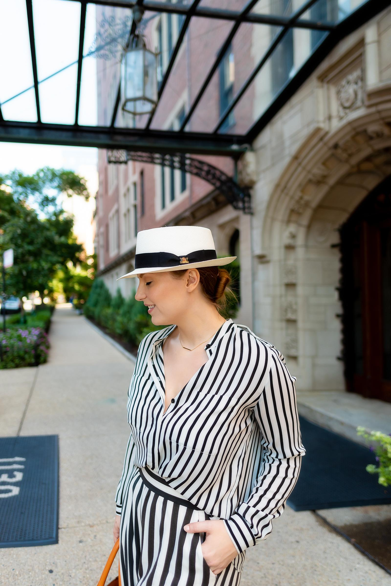 Striped Pork Pie Hat Outfit
