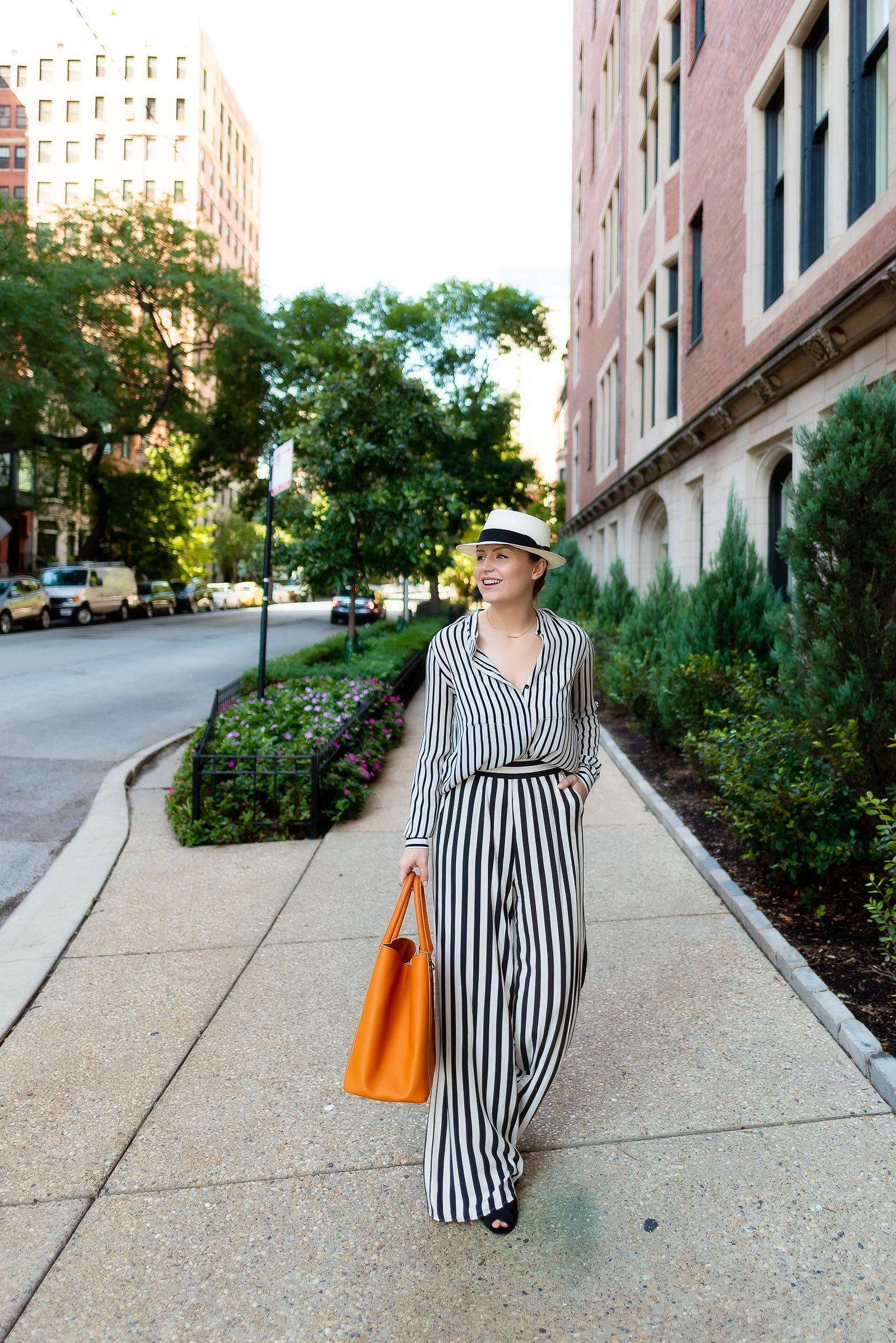 Striped Pork Pie Hat Outfit